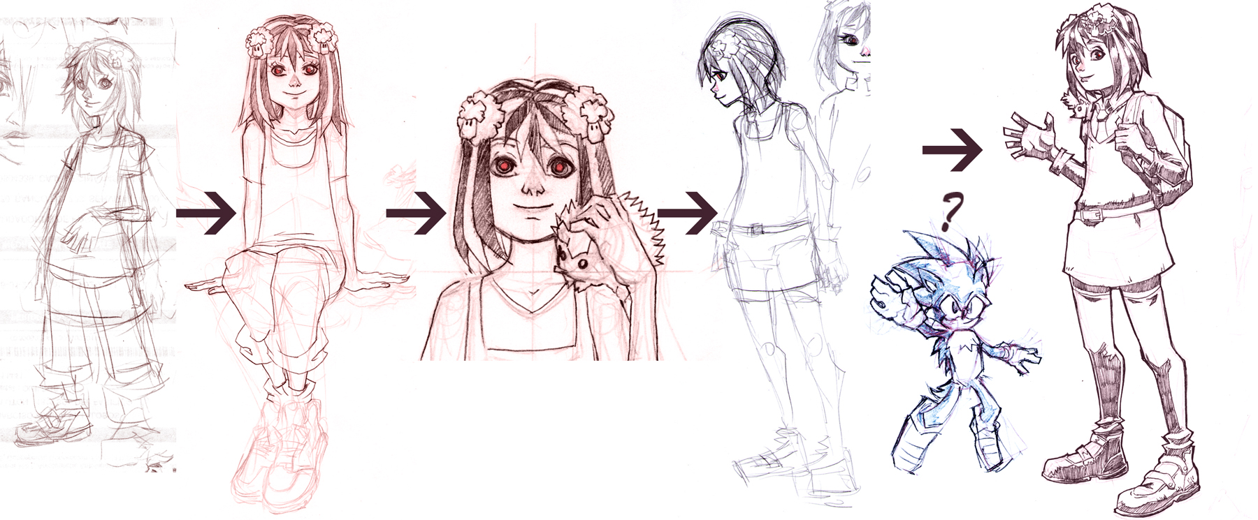 A very old design of    Paloma   . Back then, the story was going to start before the city was devastated, when Paloma was still a normal student. Later, I changed the script so the story would start with Paloma already trying to survive in a dying city.