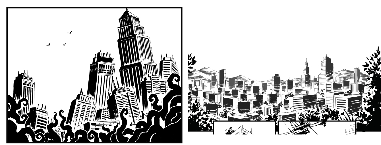 Technique and detail comparison between the first panel of the comic. Old version (left) vs New version (right). Notice how I used a less controlled, more loose inking technique on the new version.