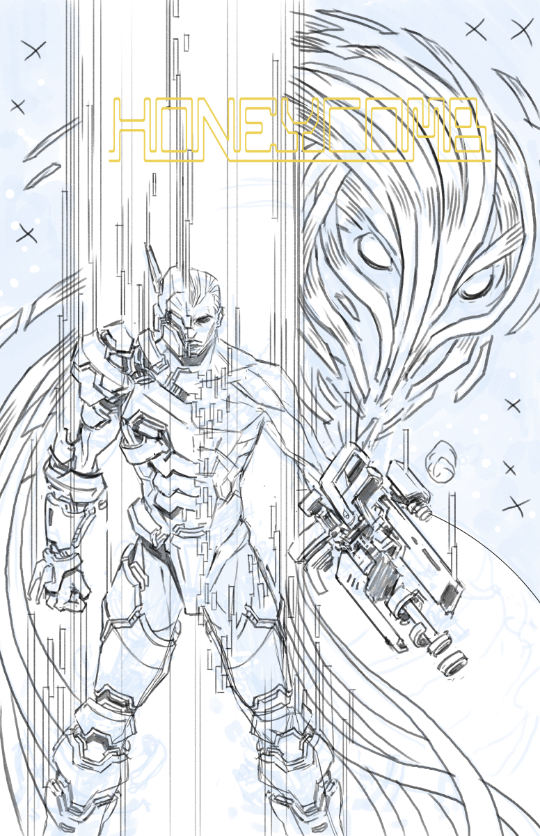 Novanim_Honeycomb cover_pencils_wip.jpg
