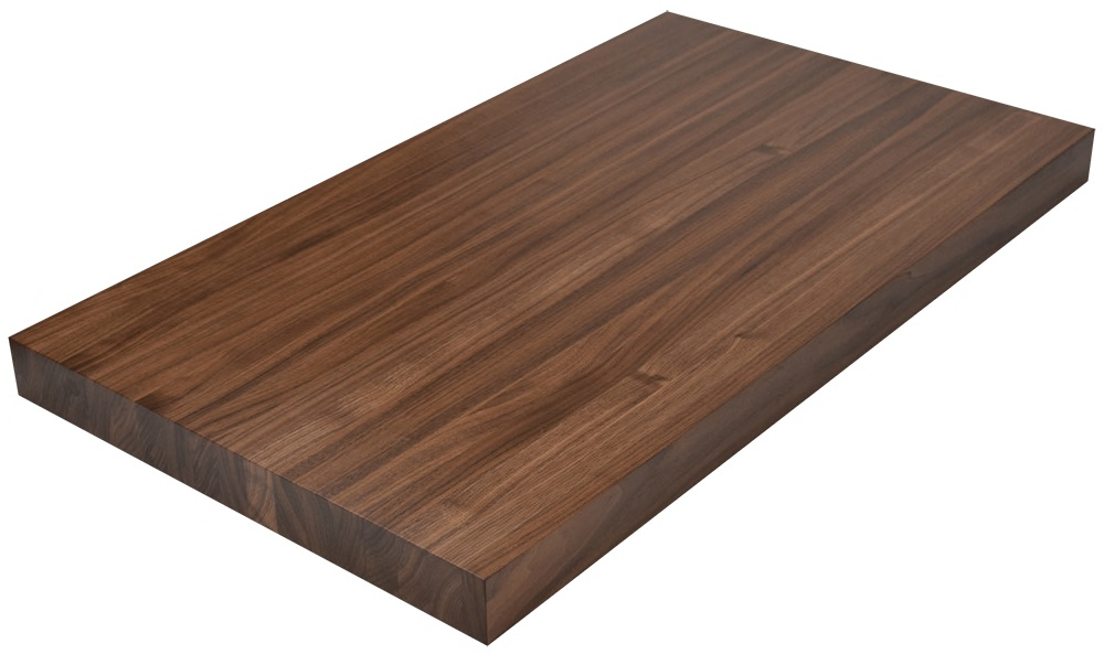 Walnut Butcher Block - The beauty of Black Walnut has been a timeless classic for ages in many uses of wood. It's dark, rich color, complimented with flowing grain patterns results in a stunning countertop or island. Standard countertop or island comes with hand-rubbed, food grade mineral oil, in maximum lengths of 9' before any seaming is required.