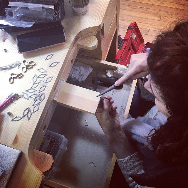 Getting ready for @revcraftshowchicago next Sunday November 3rd. #revolutioncraftshowchicago #teamariastudios #makingjewelry #ladybosses #makersgonnamake #filing #workinprogress #studiolife #metalsmiths #hechoamano #brainstorming #making #handmade #jewelry #ladysmiths #joyas #prendas