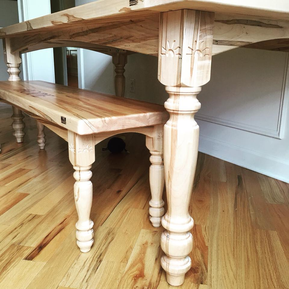 Maple Farmhouse Table with Customized Inlay