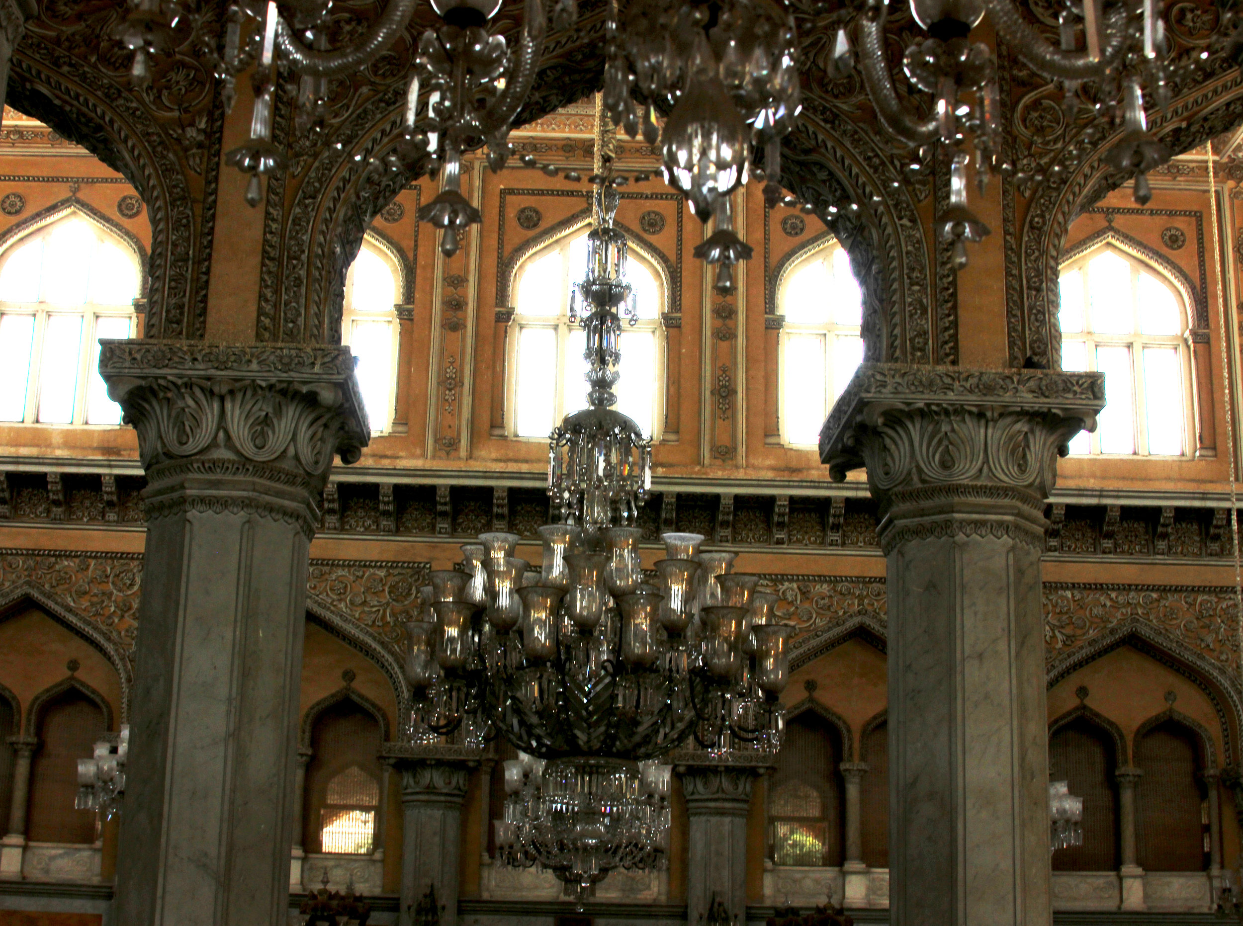 Chowmahalla Palace interiors and Chandeliers