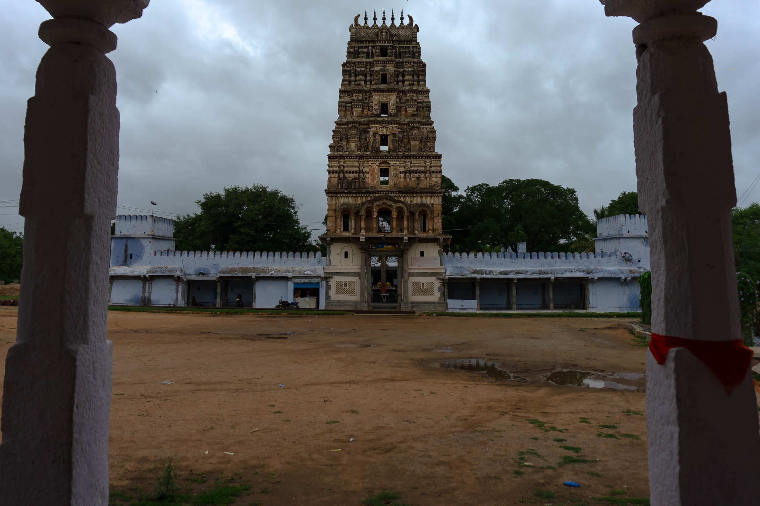 View of temple from the Mandapam in front