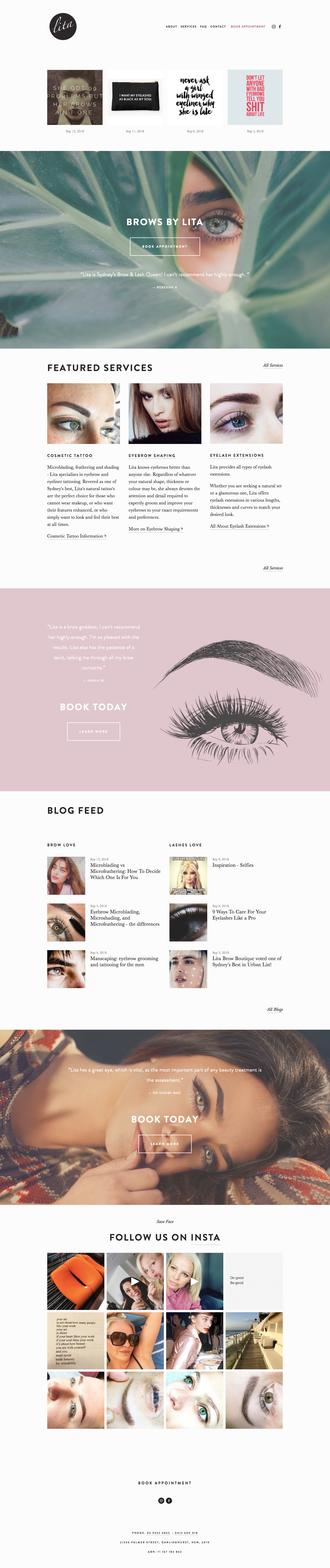 Lita Brow Boutique homepage by Wild Willow Design.