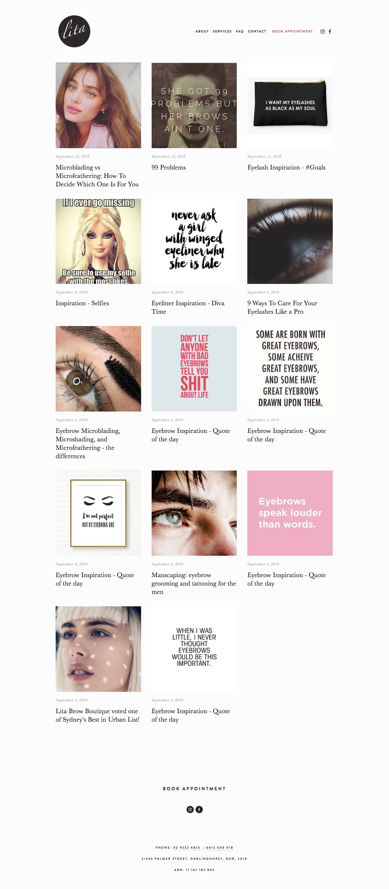 Weekly blog strategy for Lita Brow Boutique - Sydney's best eyebrow and eyelash cosmetic tattooist