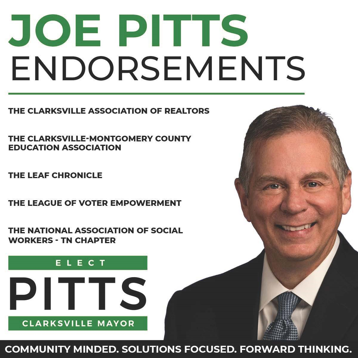 """Paid For By """"Pitts For Clarksville Mayor"""", James A. Halford, Jr. Treasurer"""