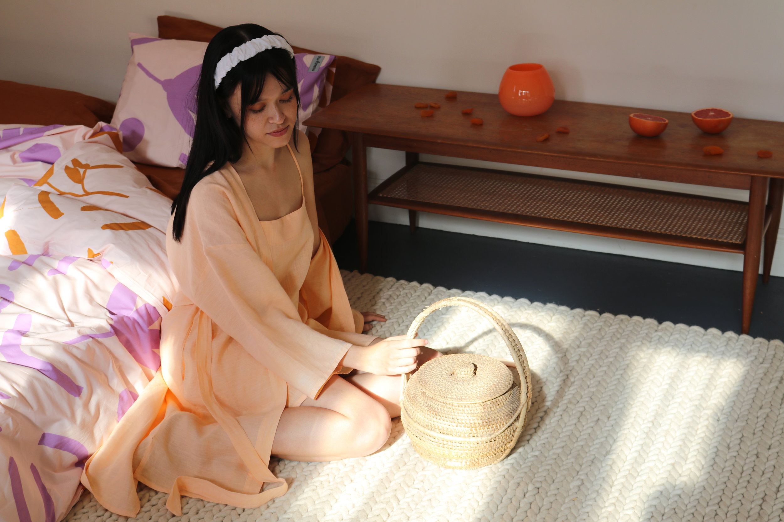 Dream States  Paradise Robe + Romantica Top in Apricot with  Mosesy Me  Floral Dreams QC & Pillowcase in Purple & Terracotta