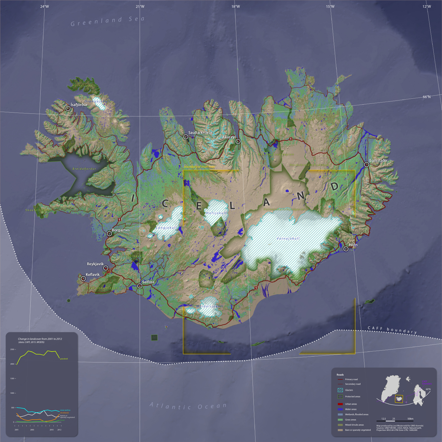 Iceland Land Cover.     Produced for GRID-Arendal, AMAP, CAFF and the 2018 Arctic Biodiversity Congress. (2018).