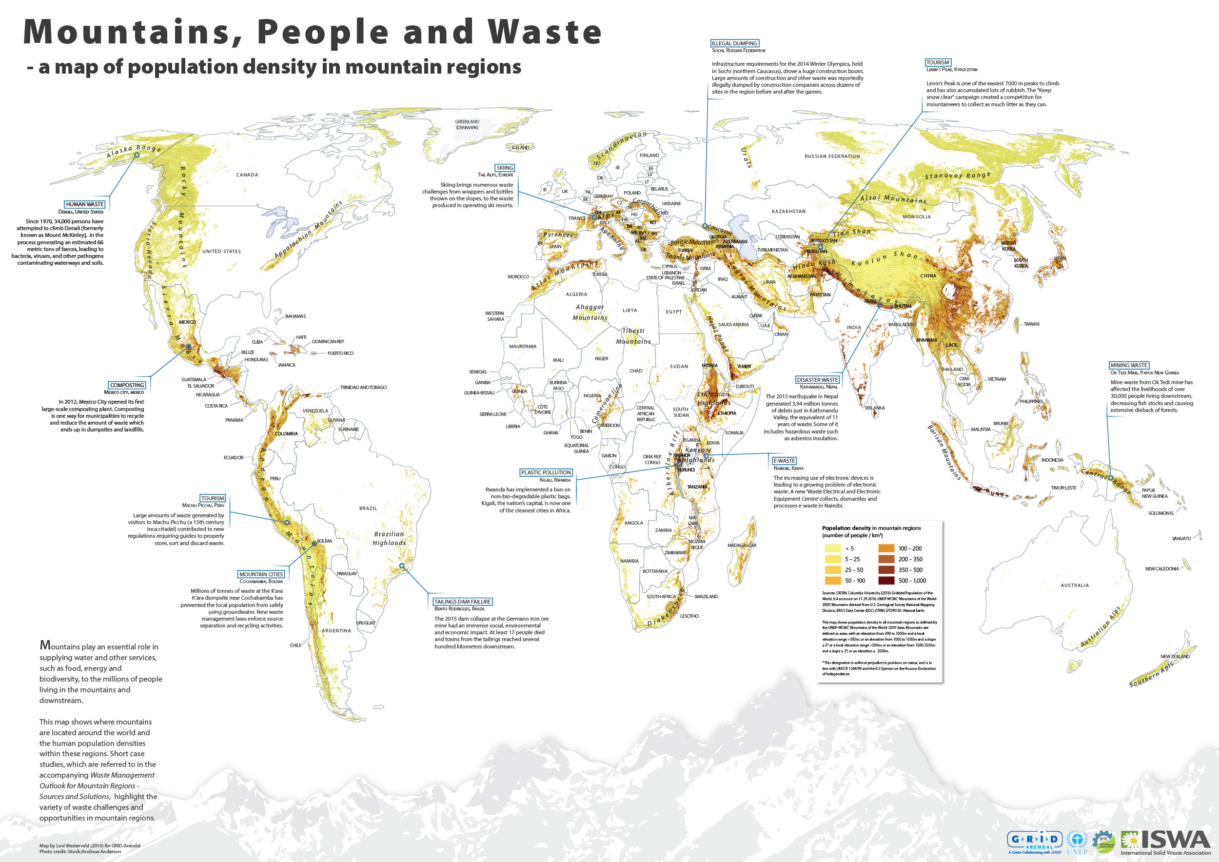Mountains, People and Waste - a Map of Population Density in Mountain Regions.   Produced for GRID-Arendal & UN Environment. (2016).