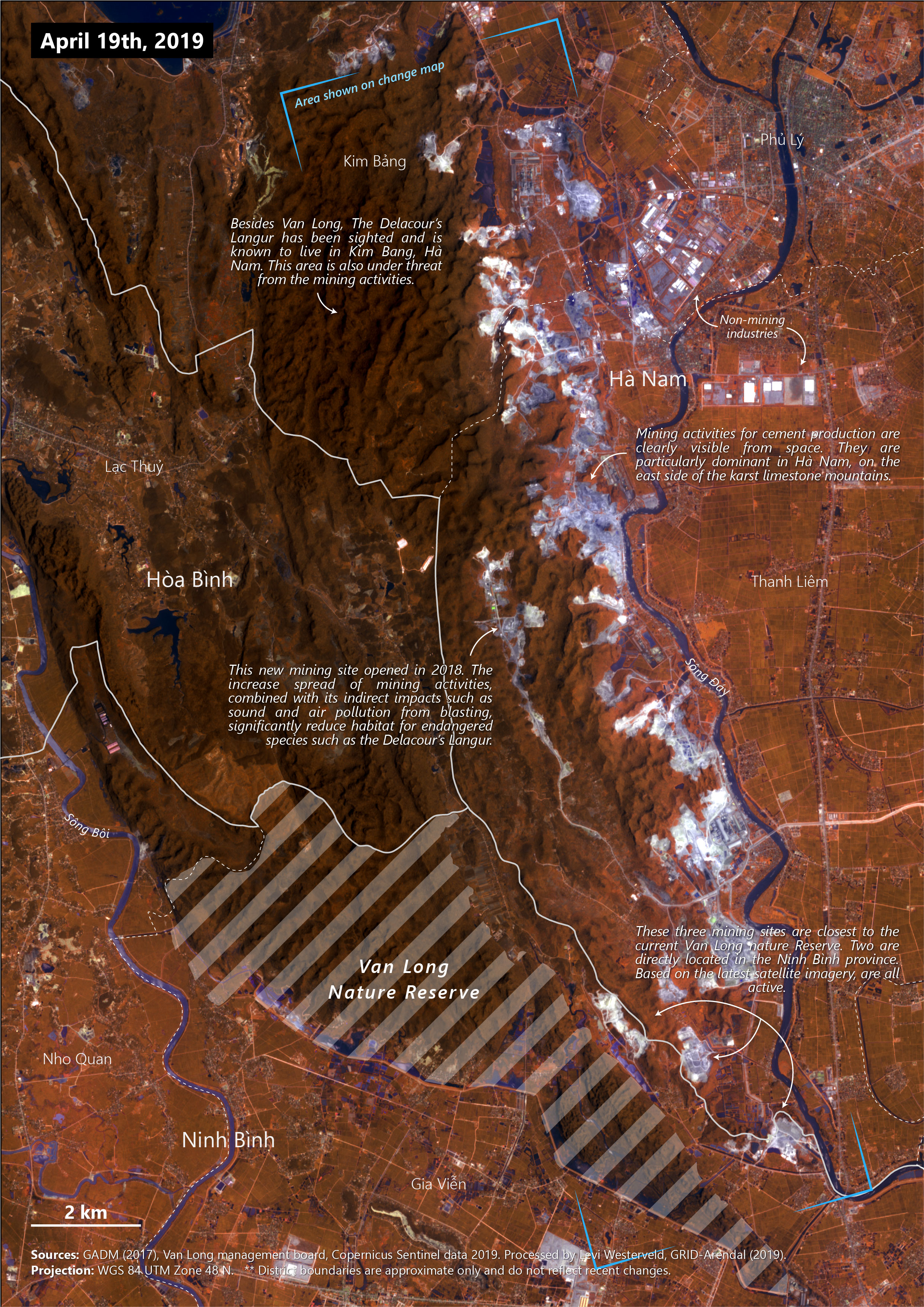 2019 False color image showing mining activities around the Van Long Nature Reserve, Vietnam . Produced for IUCN (2019).