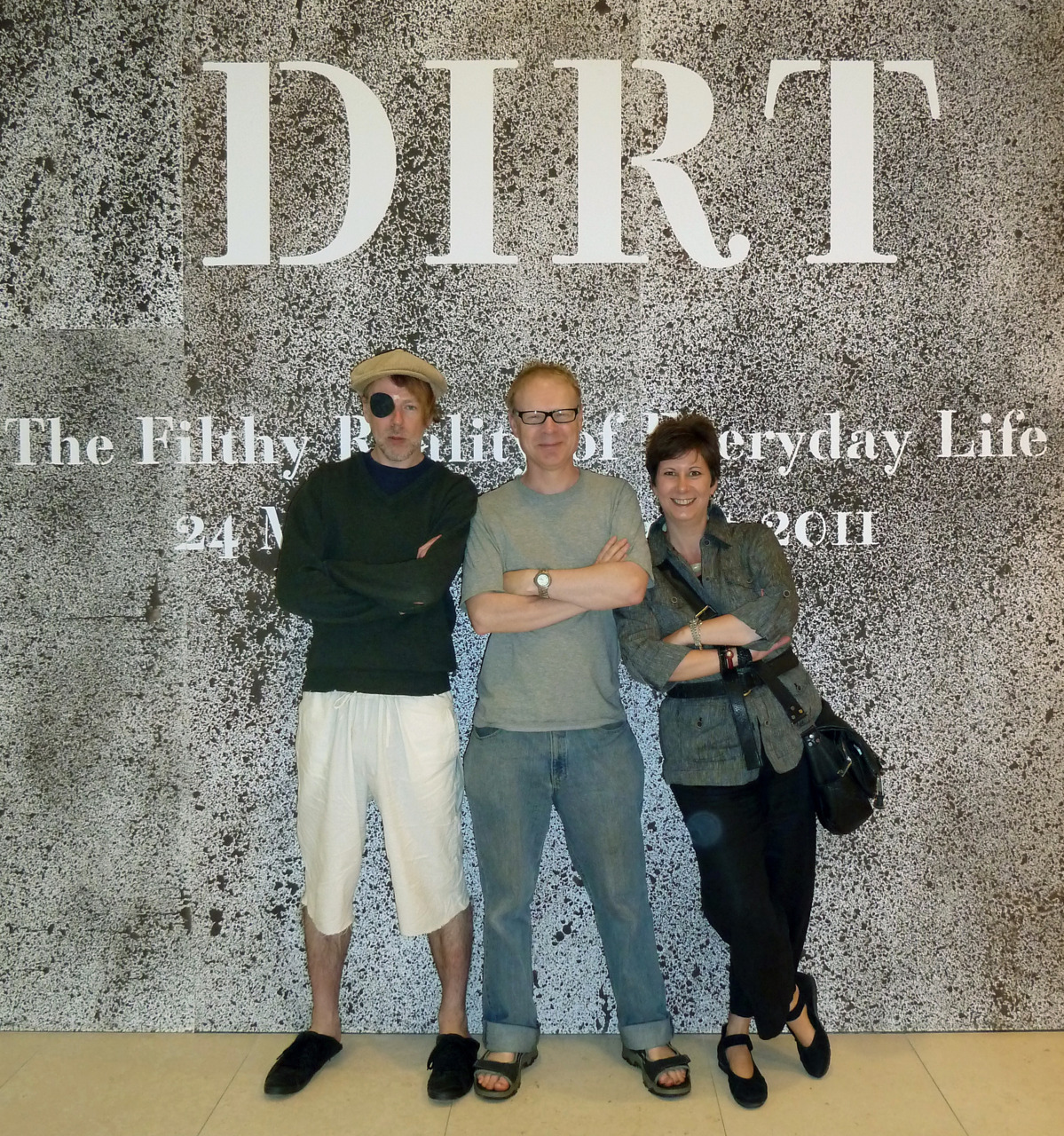 Some very clean and smiley people outside the Dirt exhibition at the Wellcome Collection last week. Great installations, including James Croak's 'dirt window', and a broom studded with precious stones by Susan Collis.