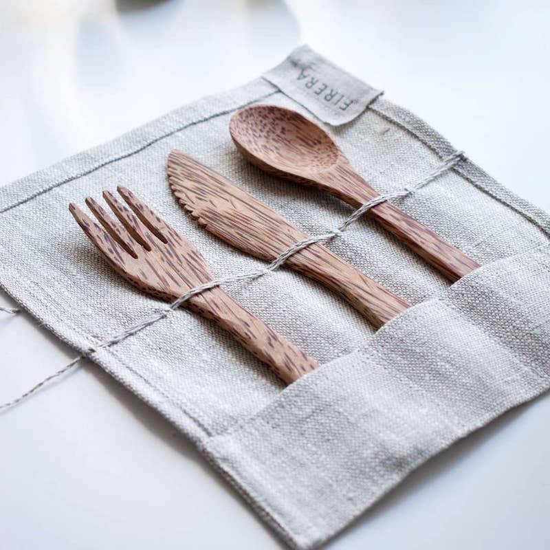FIRERA - Coconut Wood Reusable Cutlery Set £28.50