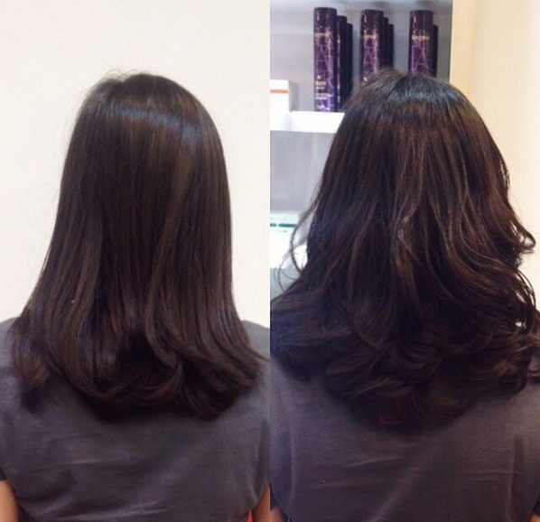 before and after permanent blow dry
