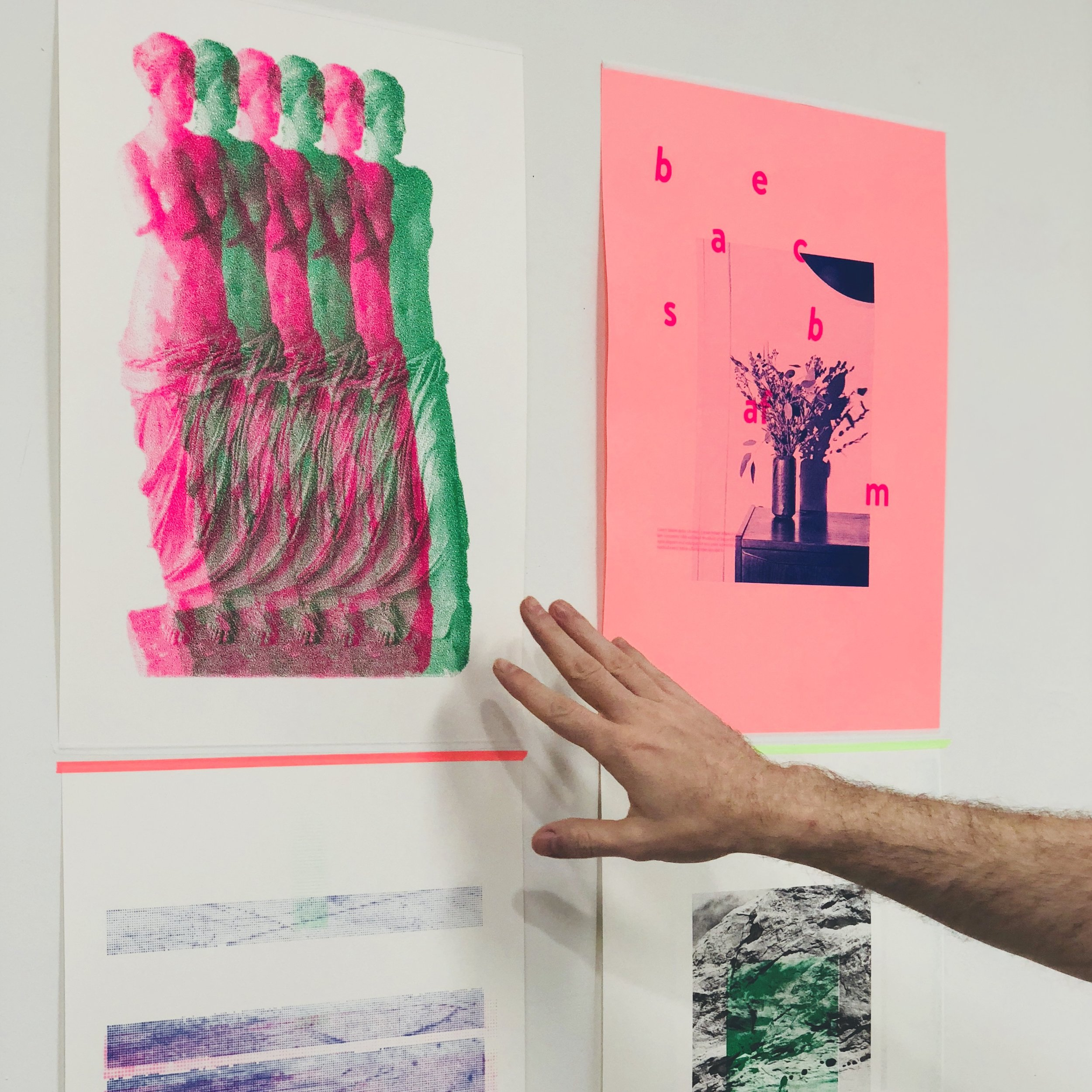 In-house posters printed via Risograph printers. Posters to be displayed in rooms and public spaces and designed in collaboration with various studios.