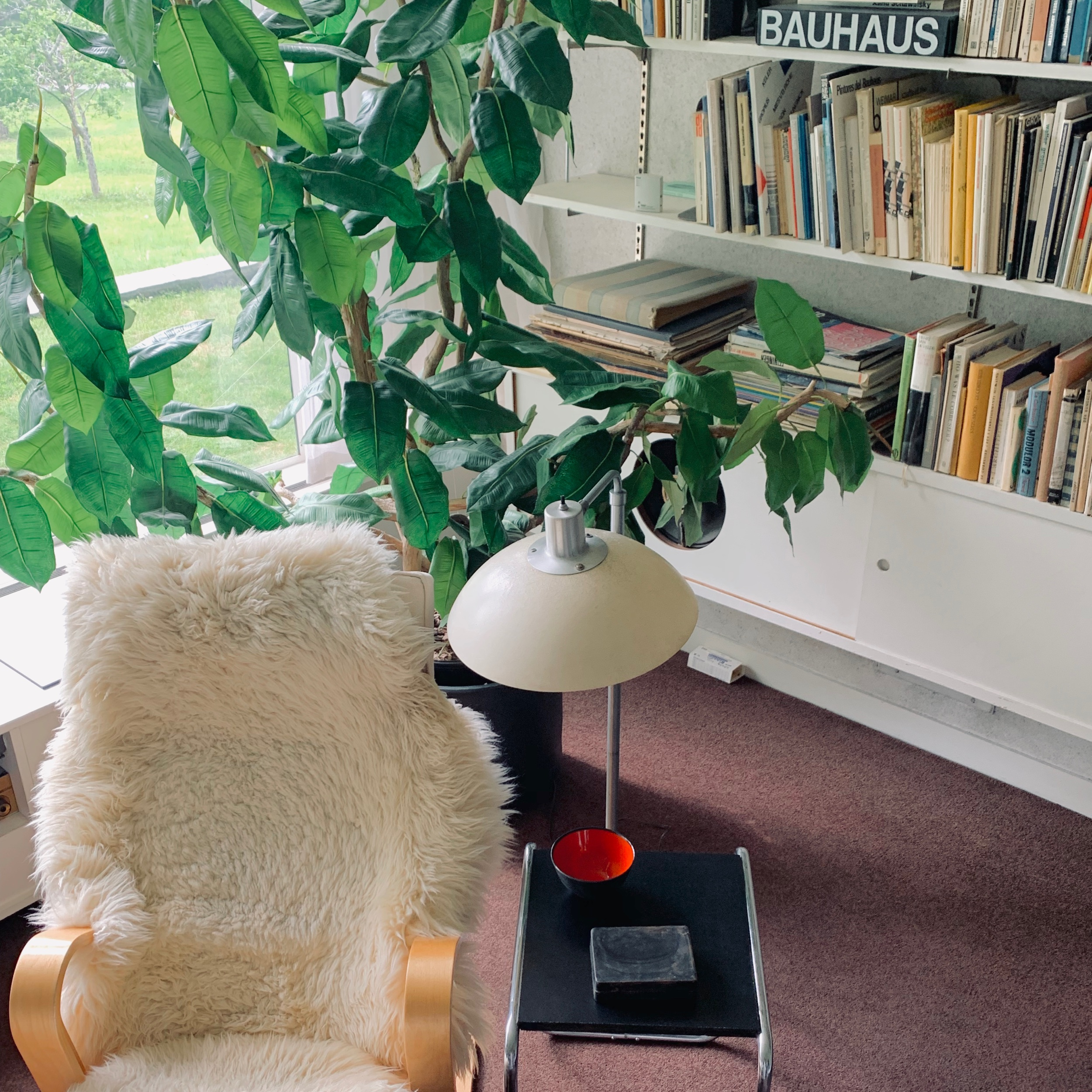 Furniture by Saarinen and Marcel Breuer in the Library. Breuer partially received his inspiration of metal tube as furniture construction from bicycle designs.