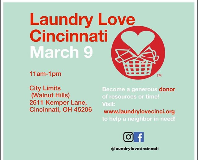 Time to kick off our first of our monthly Laundry Love Cincinnati events!! . . Meet us from 11-1pm today at 2611 Kemper Lane in the Walnut Hills neighborhood of Cincinnati to get your laundry done for free! . . . Let's put on an awesome event and make a difference in some lives today! . .  #Give #Health #Hygiene #Compassion #Empathy #ActsOfKindness #501c3 #NonProfit #MakeTheWorldABetterPlace #TakeAction #Fundraising #Community #Laundry #Love #Cincinnati #WalnutHills #EastWalnutHills #LaundryLove . @9onyourside @wlwt5 @local12wkrc