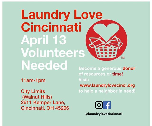 Hi friends! We need volunteers for our April 13th event!! DM us if interested! .  #Give #Health #Hygiene #Compassion #Empathy #ActsOfKindness #501c3 #NonProfit #Volunteer #Donate #MakeTheWorldABetterPlace #TakeAction #Fundraising #Community #Laundry #Love #Socks  #Cincinnati #WalnutHills #EastWalnutHills #LaundryLove