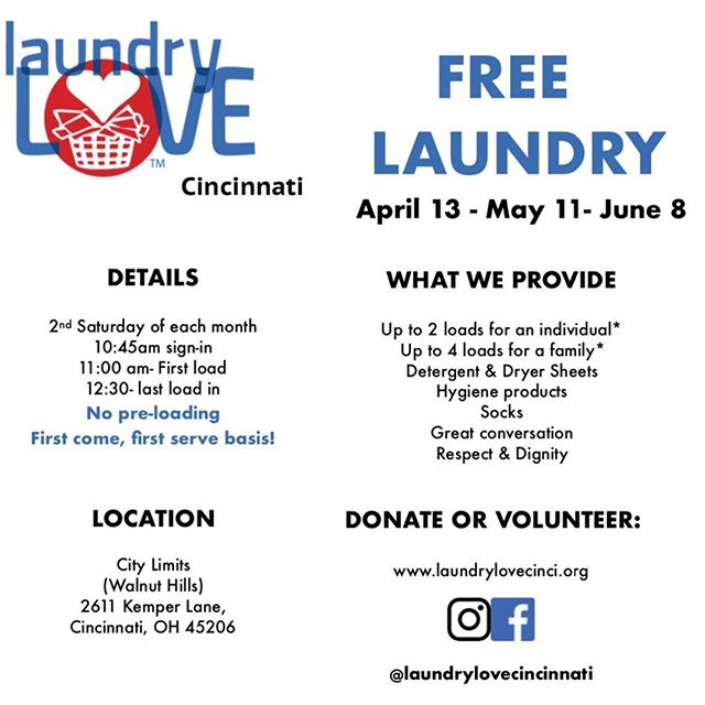 Walnut Hills/Cincinnati, are you ready for our next free laundry days? Our next is next Saturday, April 13th, so save the date! .  All you have to do is bring your laundry and we'll help take the load off! (Get it...? 😅) . Don't forget to spread the word! . #Give #Health #Hygiene #Compassion #Empathy #ActsOfKindness #501c3 #NonProfit #Volunteer #Donate #MakeTheWorldABetterPlace #TakeAction #Fundraising #Community #Laundry #Love #Socks  #Cincinnati #WalnutHills #EastWalnutHills #LaundryLove