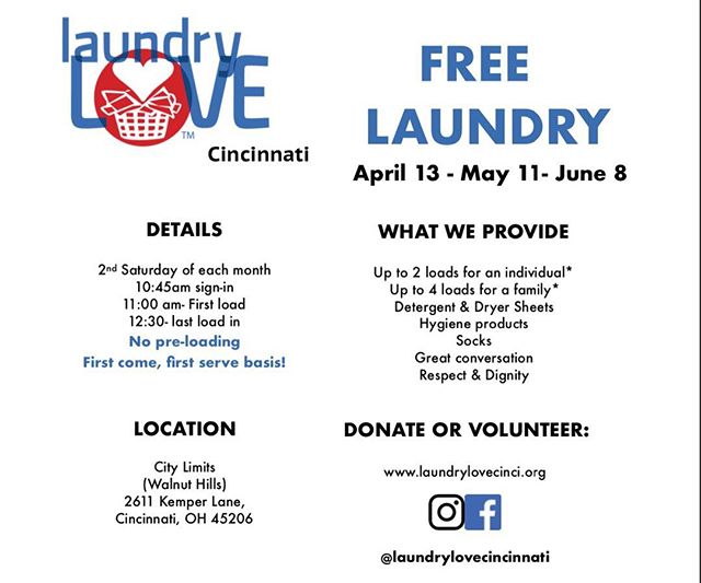 Tomorrow! Don't forget to drop by for free laundry, a cup of joe and some good conversation ☺️ . . #Give #Health #Hygiene #Compassion #Empathy #ActsOfKindness #501c3 #NonProfit #Volunteer #Donate #MakeTheWorldABetterPlace #TakeAction #Fundraising #Community #Laundry #Love #Socks  #Cincinnati #WalnutHills #EastWalnutHills #LaundryLove