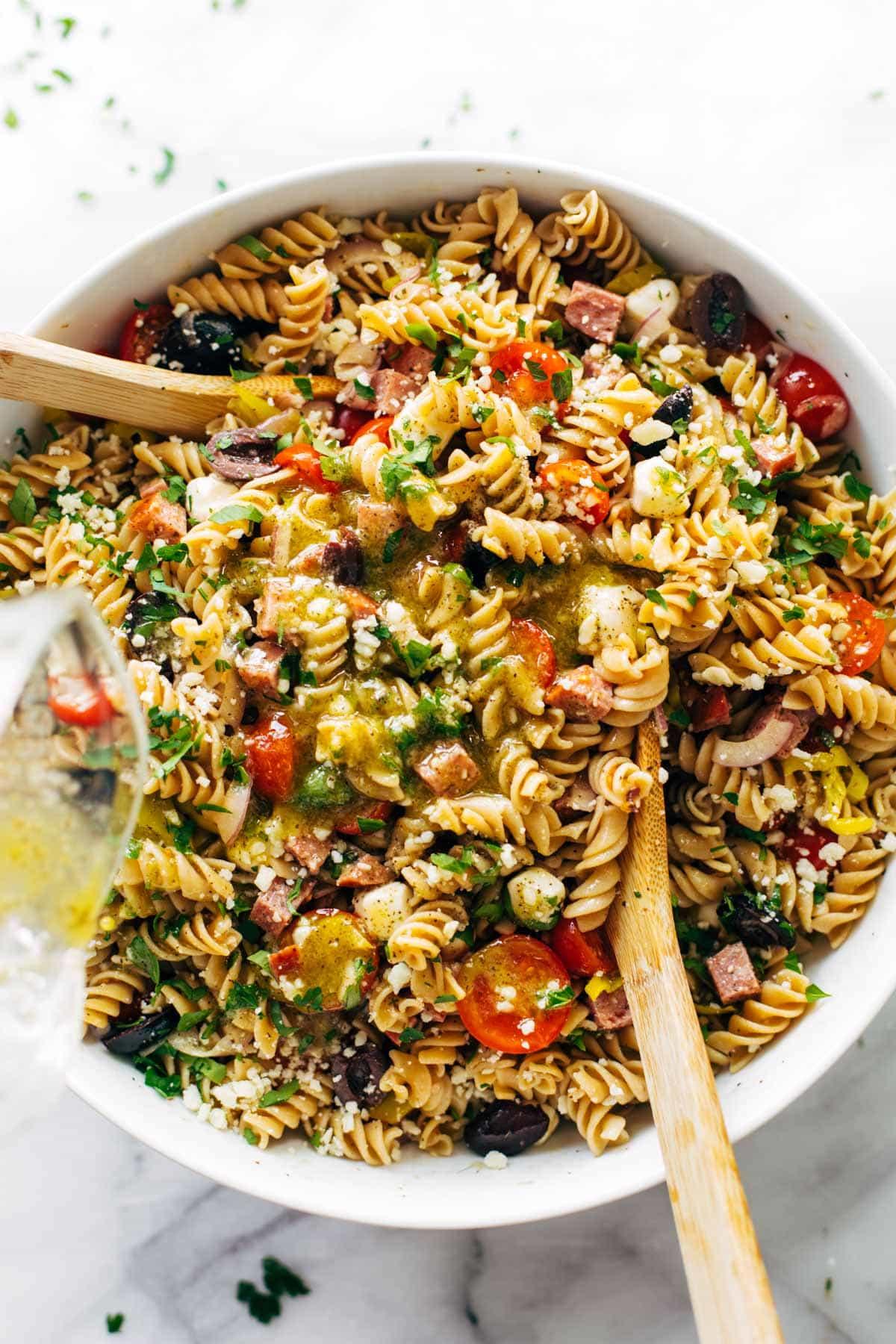 Pasta Salad w/Italian Dressing    Pinch of Yum