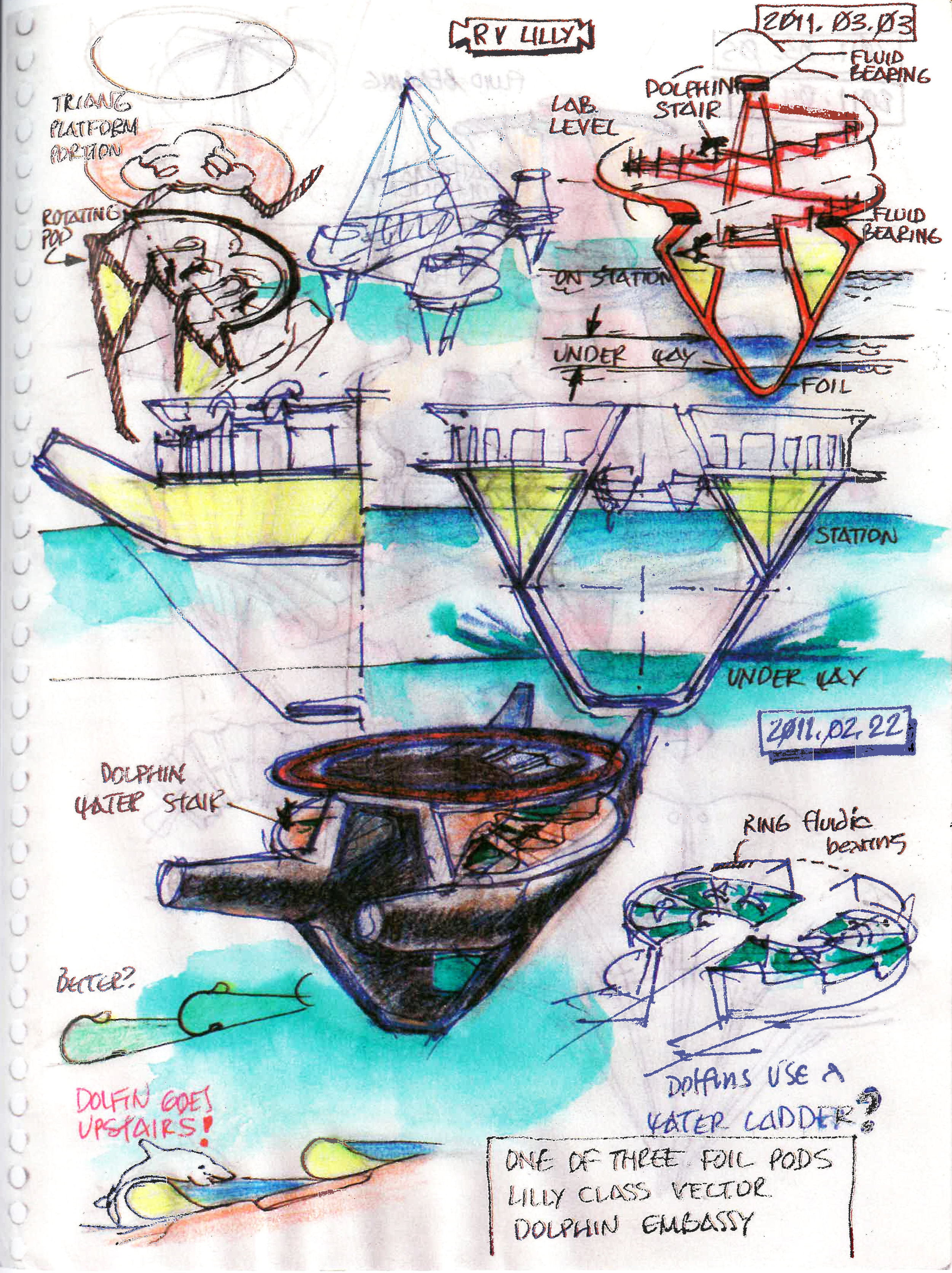 Fig. 4. Dolphin Spiral Stair sketches by Embassy designer Curtis Schreier. Curtis Schreier, RV Lilly, 2011.03.05. 2011, pen and colored pencil on paper, 8x10in. Personal sketchbook of Curtis Schreier.