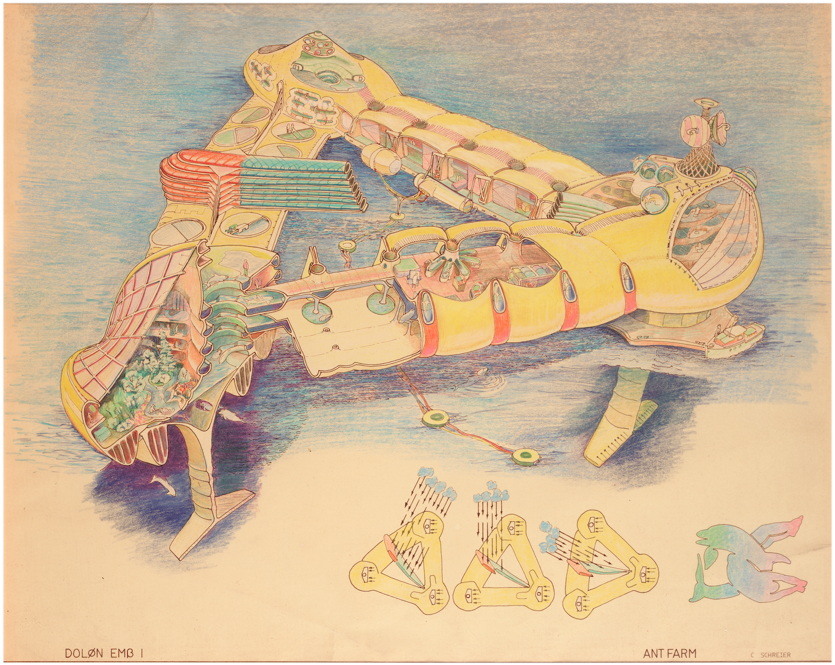 Fig. 1. Ant Farm's original  Dolphin Embassy , conceived for the 1973 exhibition  2020 Vision  (Contemporary Arts Museum Houston), also referred to as the 'RV John Lilly' to distinguish it from later iterations. Ant Farm, DOLON EMB 1 (Drawing by Curtis Schreier). 1975, hand colored brownline, 18x22 in. Berkeley Art Museum & Pacific Film Archive, 2005.14.66.