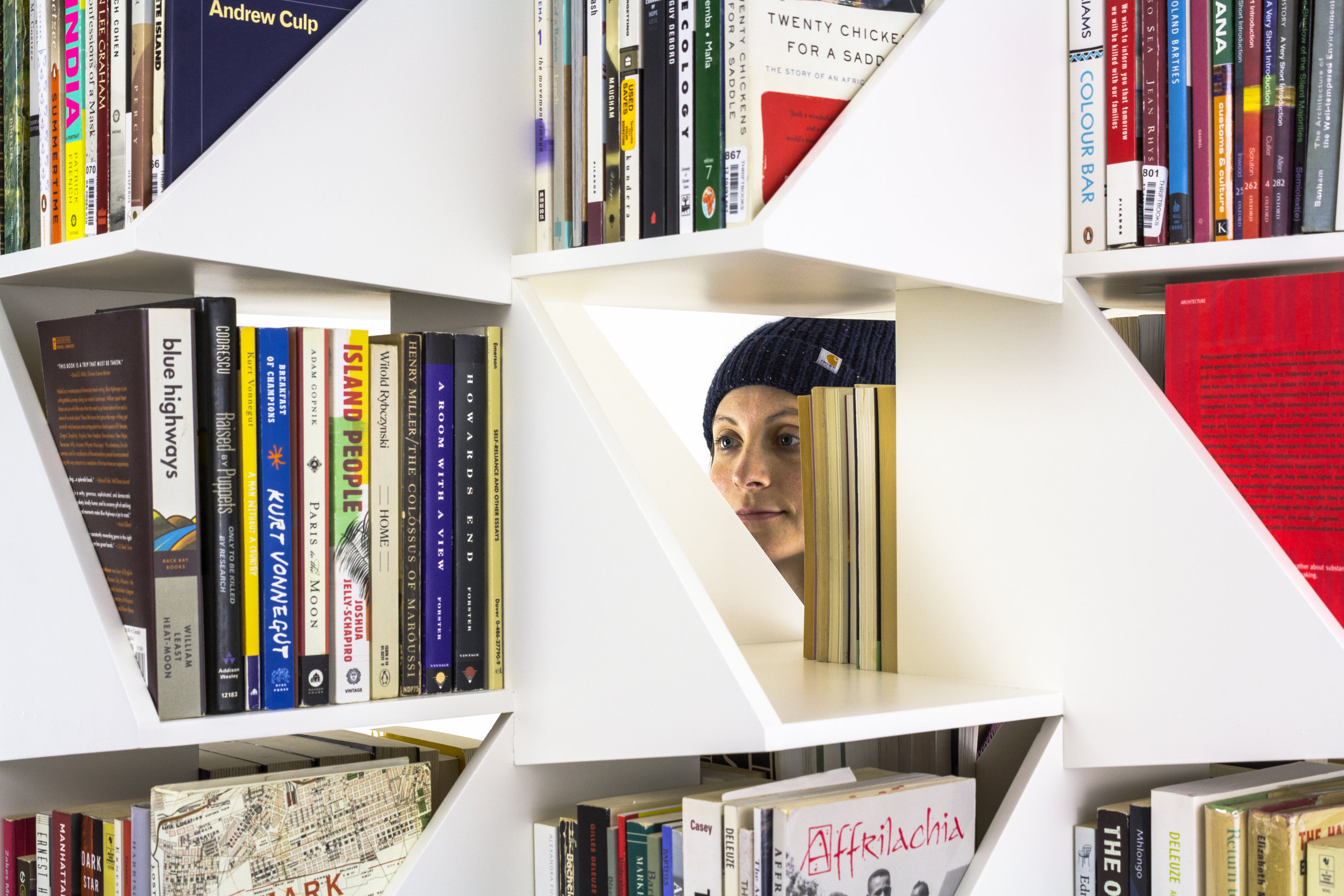 The shelving is freestanding and open, a screen that reveals and conceals ( model credit: Stephanie Beamer )