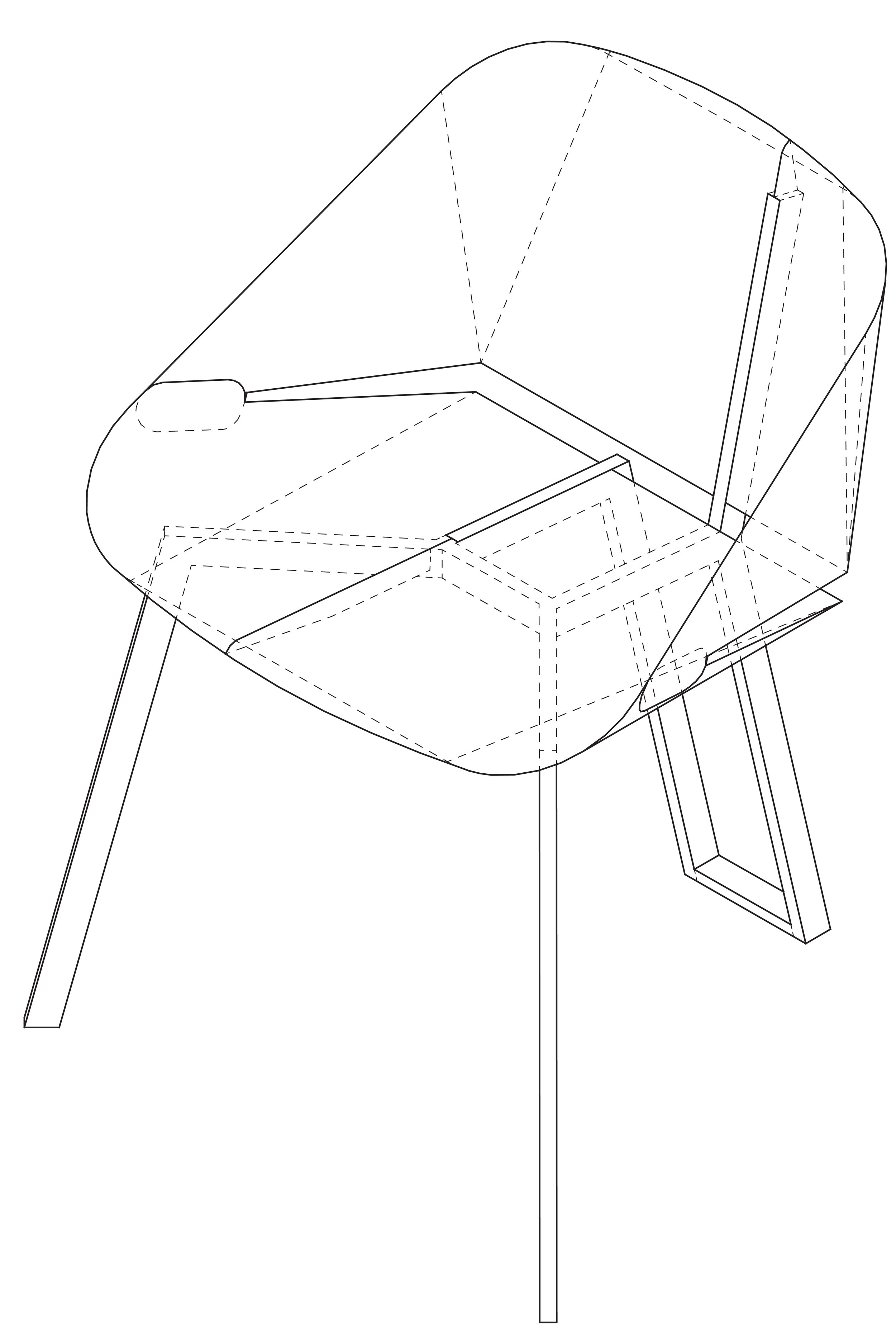 Axonometric drawing of the chair prototype