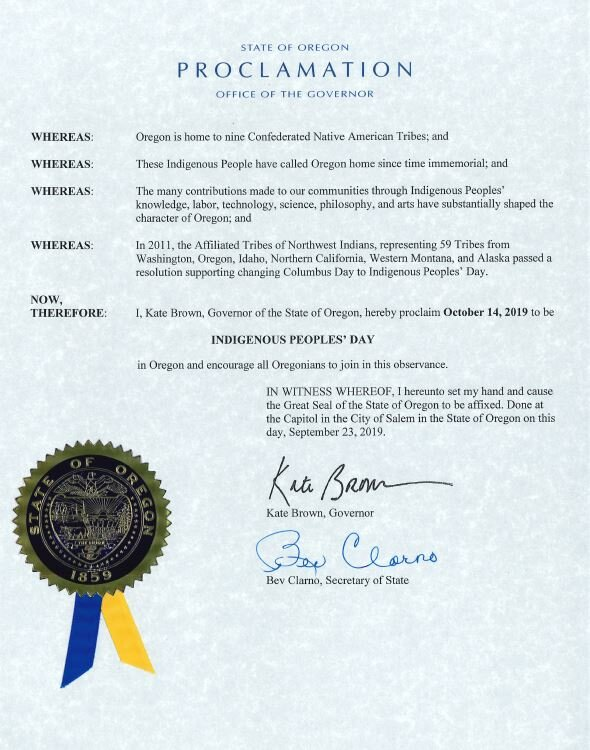 Oregon Governor'Kate Brown's official Indigenous People's Day proclamation for 2019.