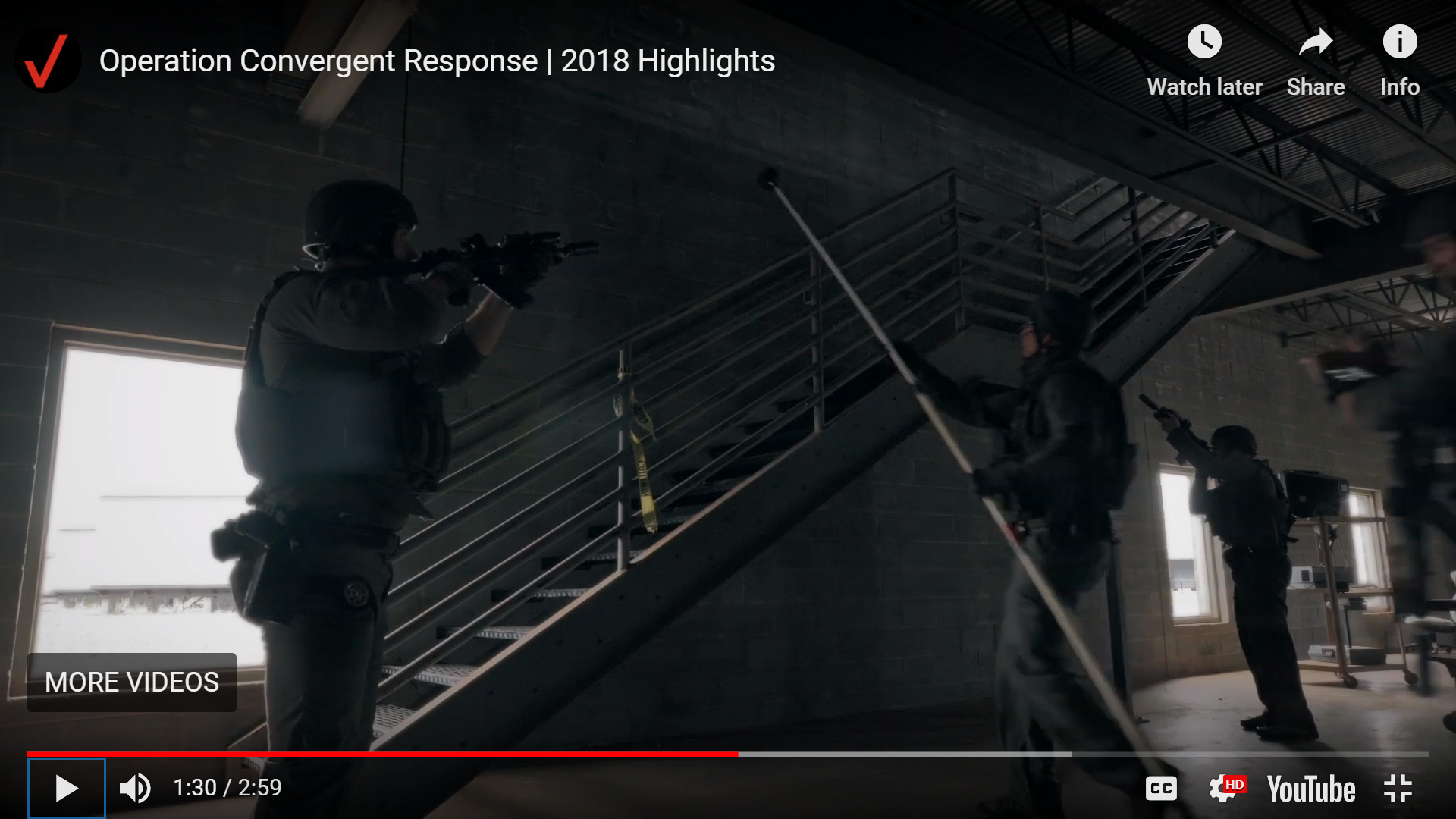 SWAT Officers use Bounce Imaging Explorer as a 360 degree tactical pole camera to gain situational awareness on a second level. Operation Convergent Response 2018, Guardian Center, Perry, GA