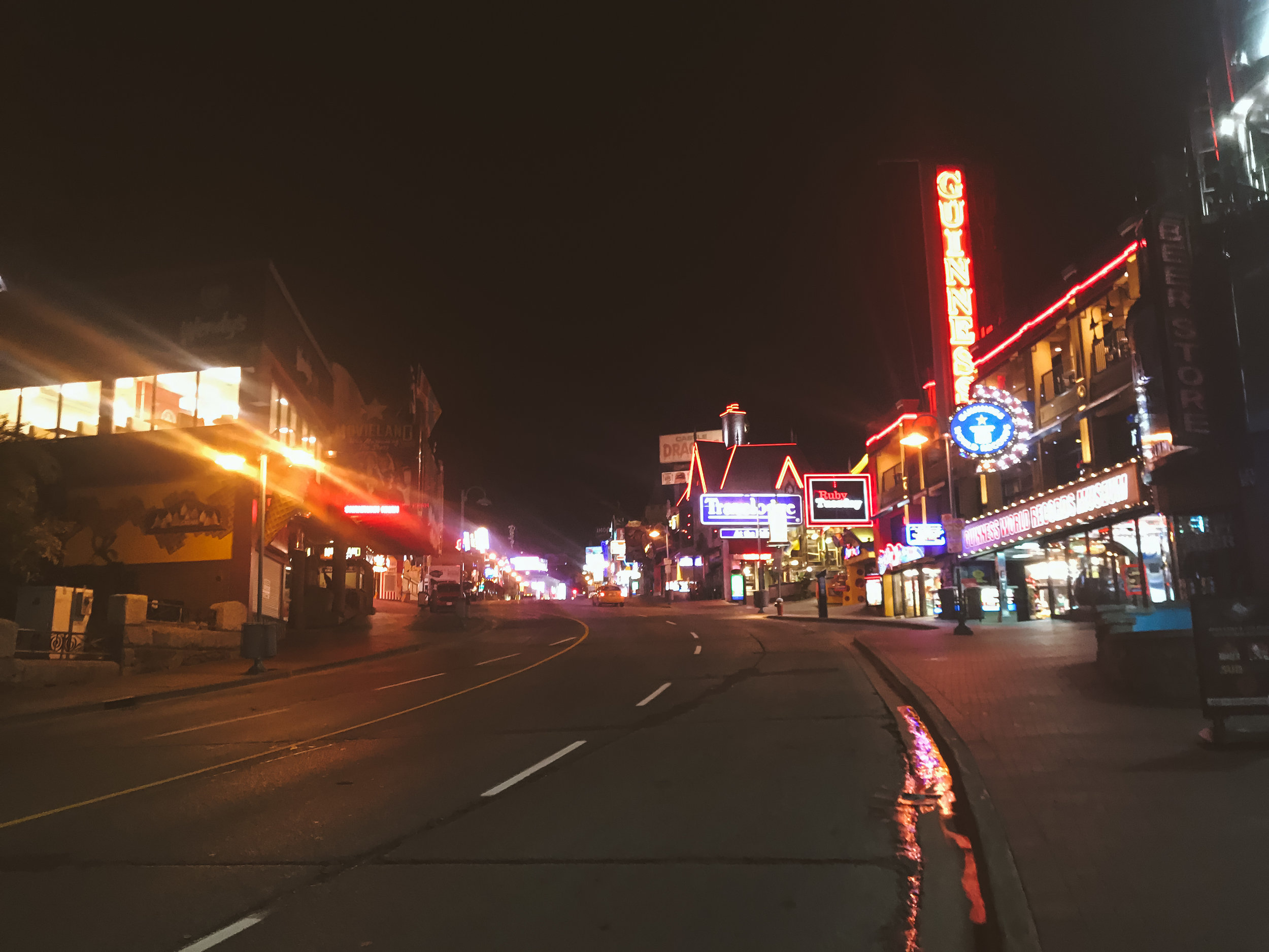 Niagara Falls Streets are extra neon and extra empty at night
