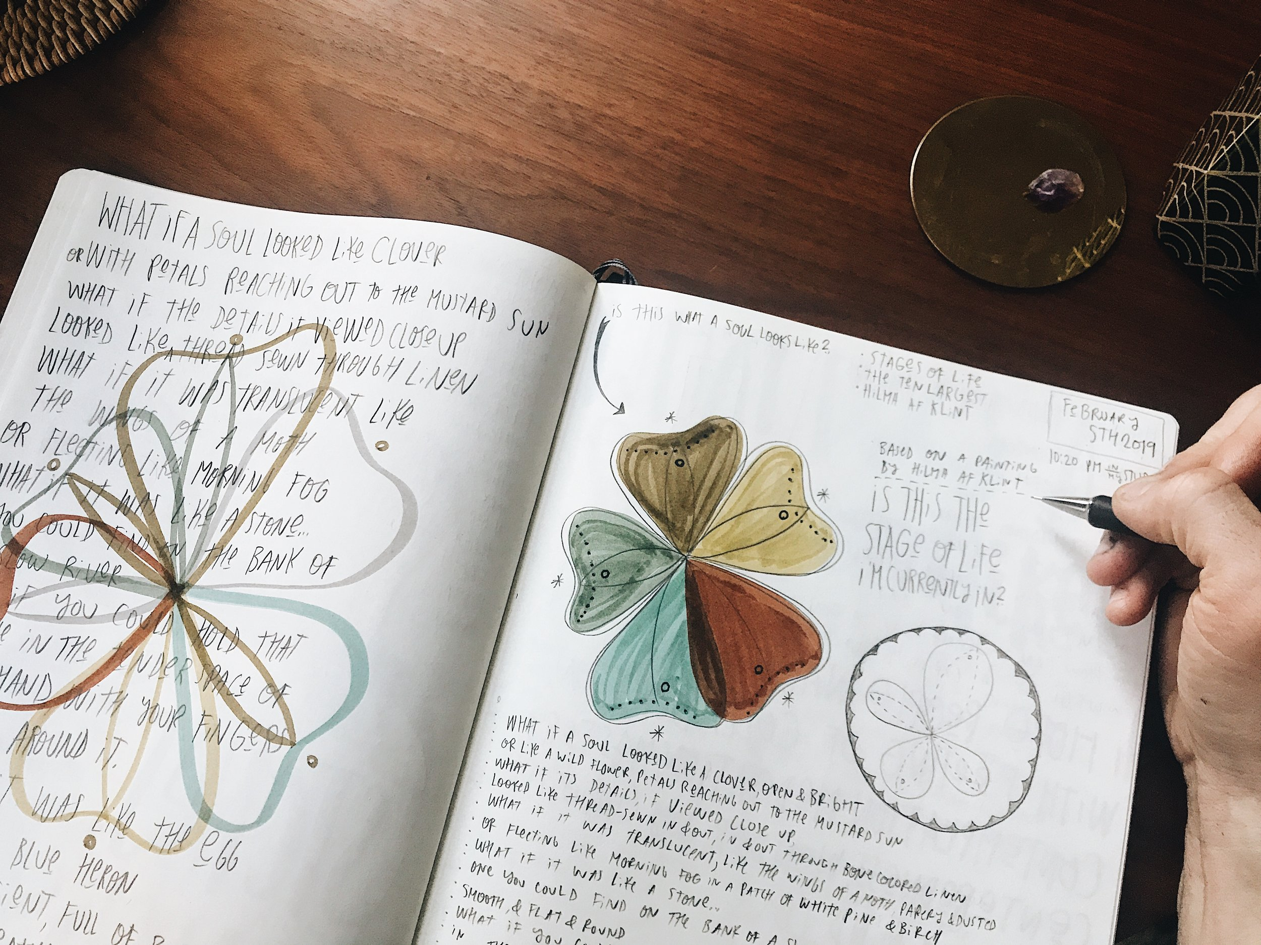 Artwork and Poetry in my WTQL Journal inspired by the work of Oliver and af Klint