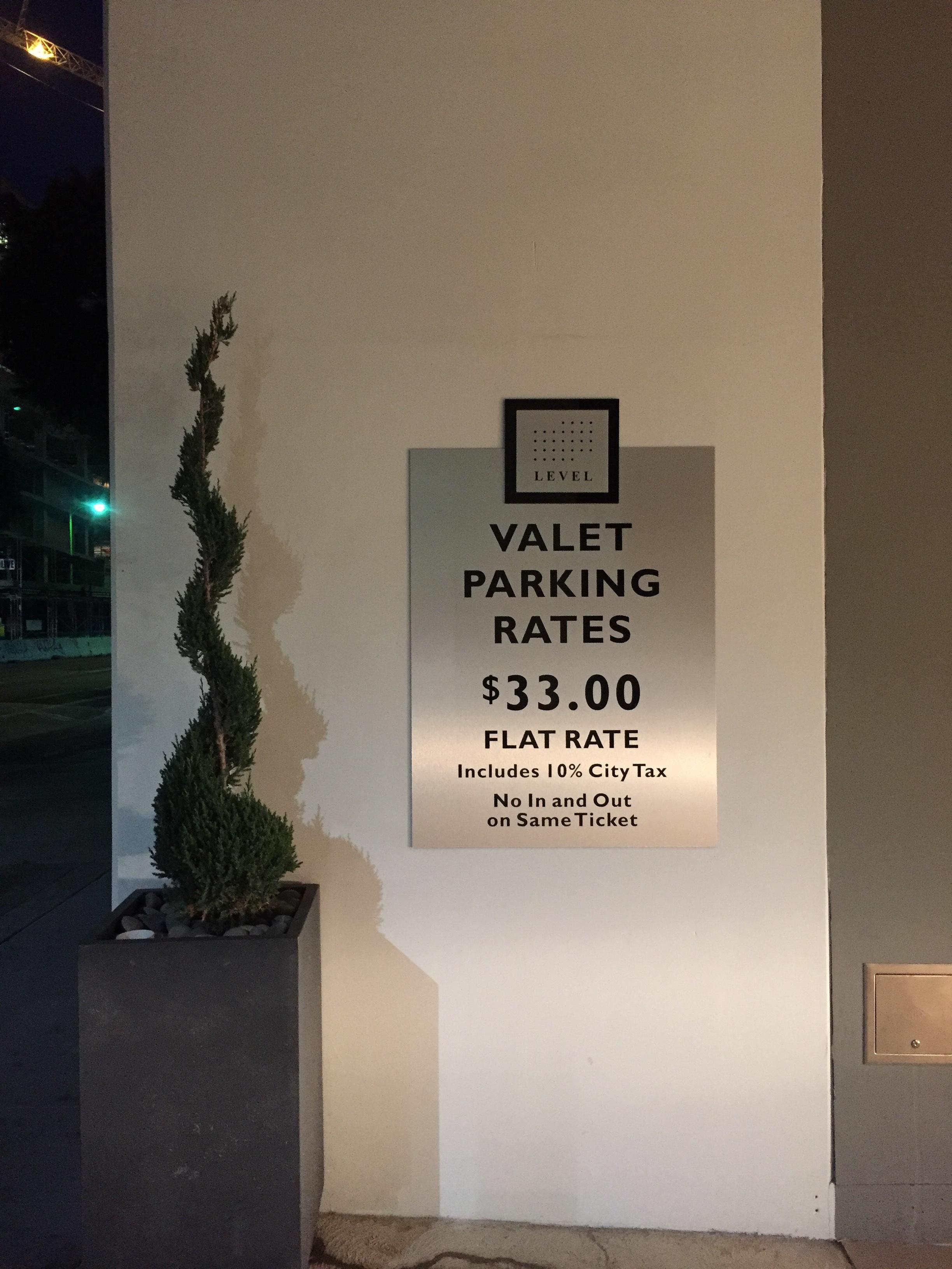 Valet Parking Rate Sign