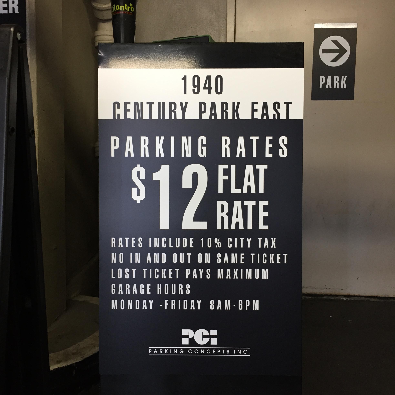 Parking Podium Rate Sign