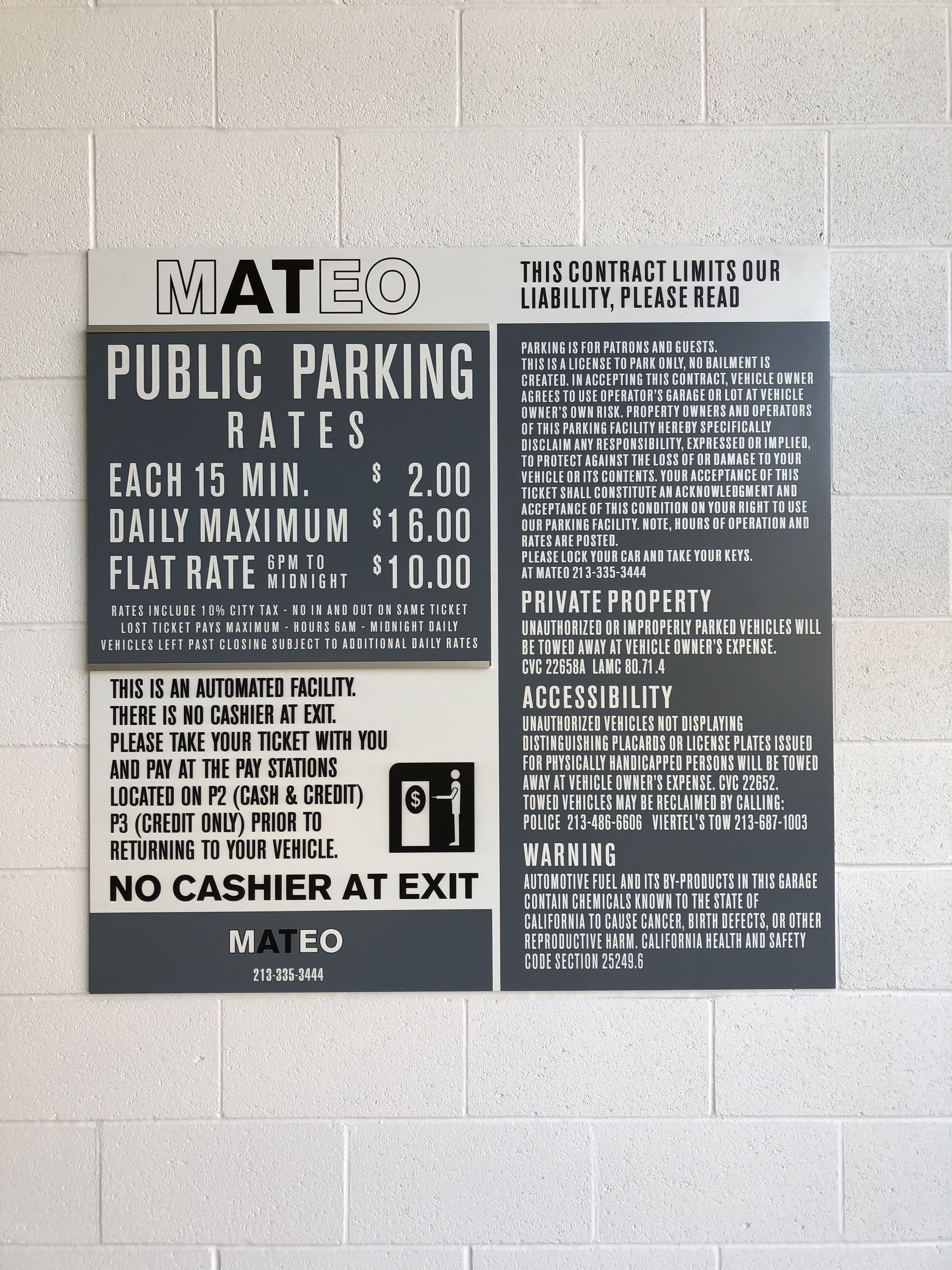 Parking Rate Liability Combo Sign