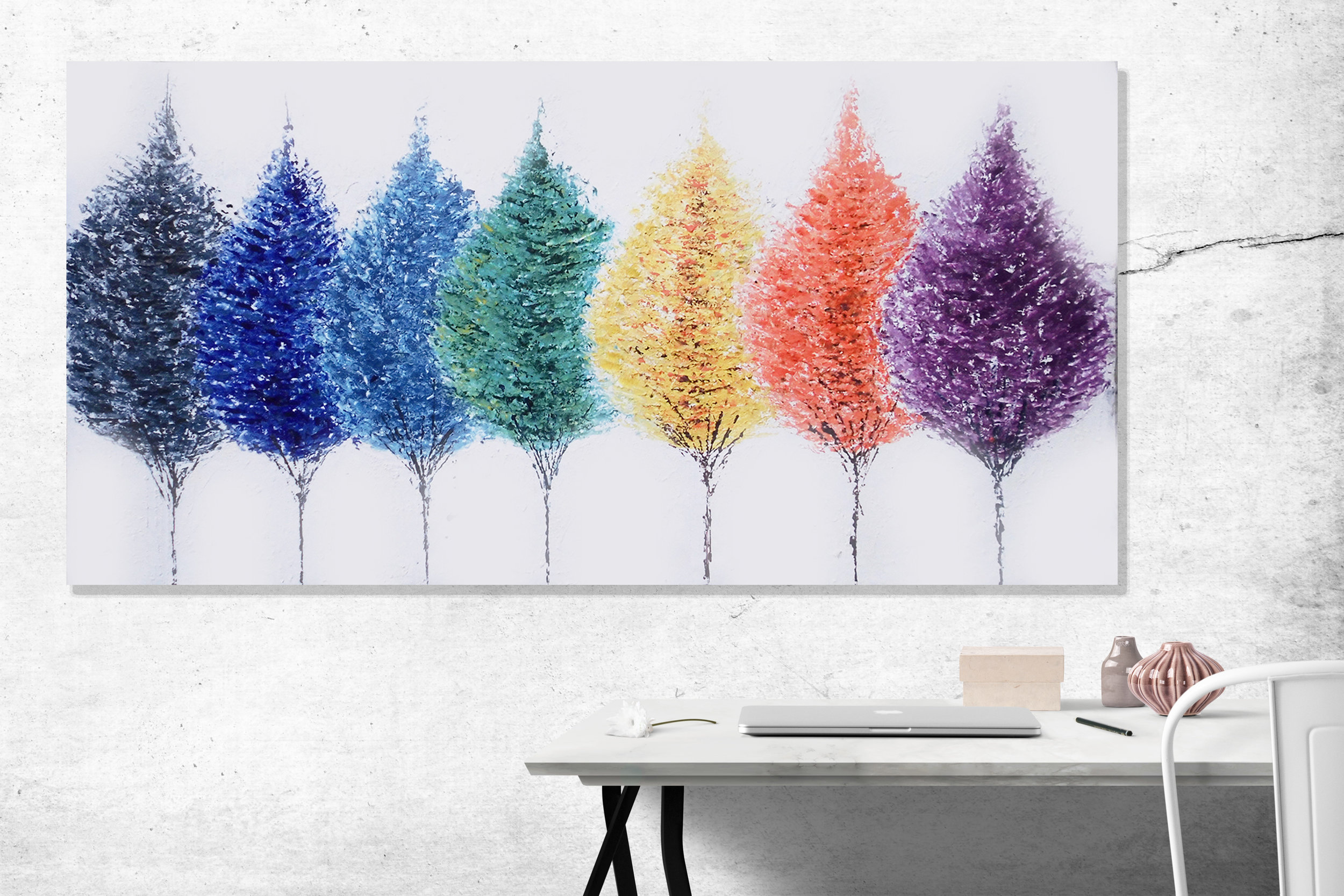 Abstract Colourful Trees Painting by Baron