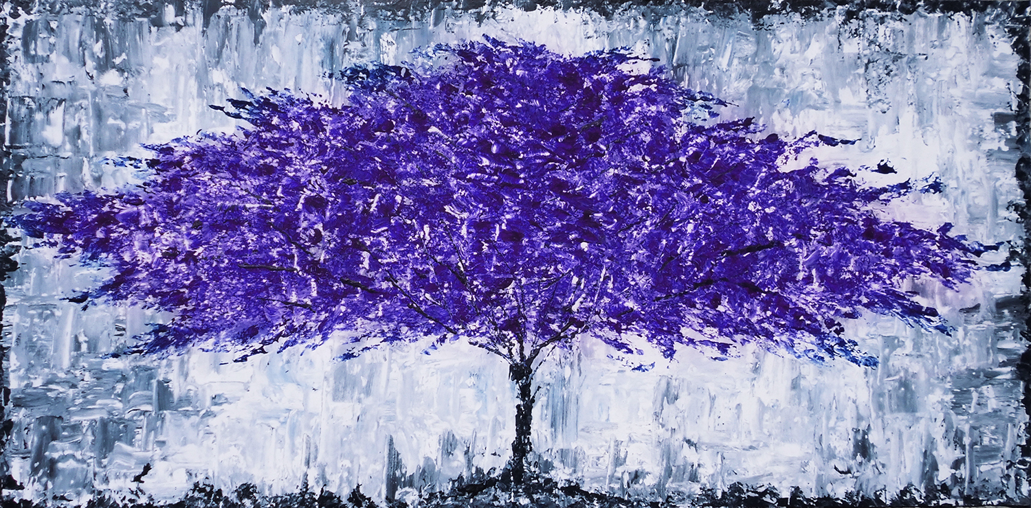 Art Basket Paintings Abstract Purple Tree Acrylic Painting By