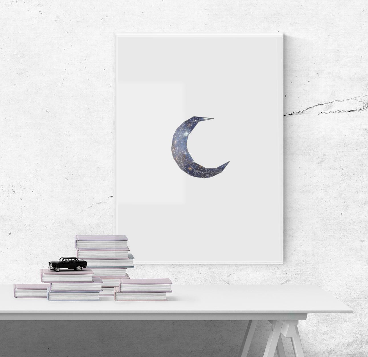 Geometric midnight stars moon poster by Art Basket