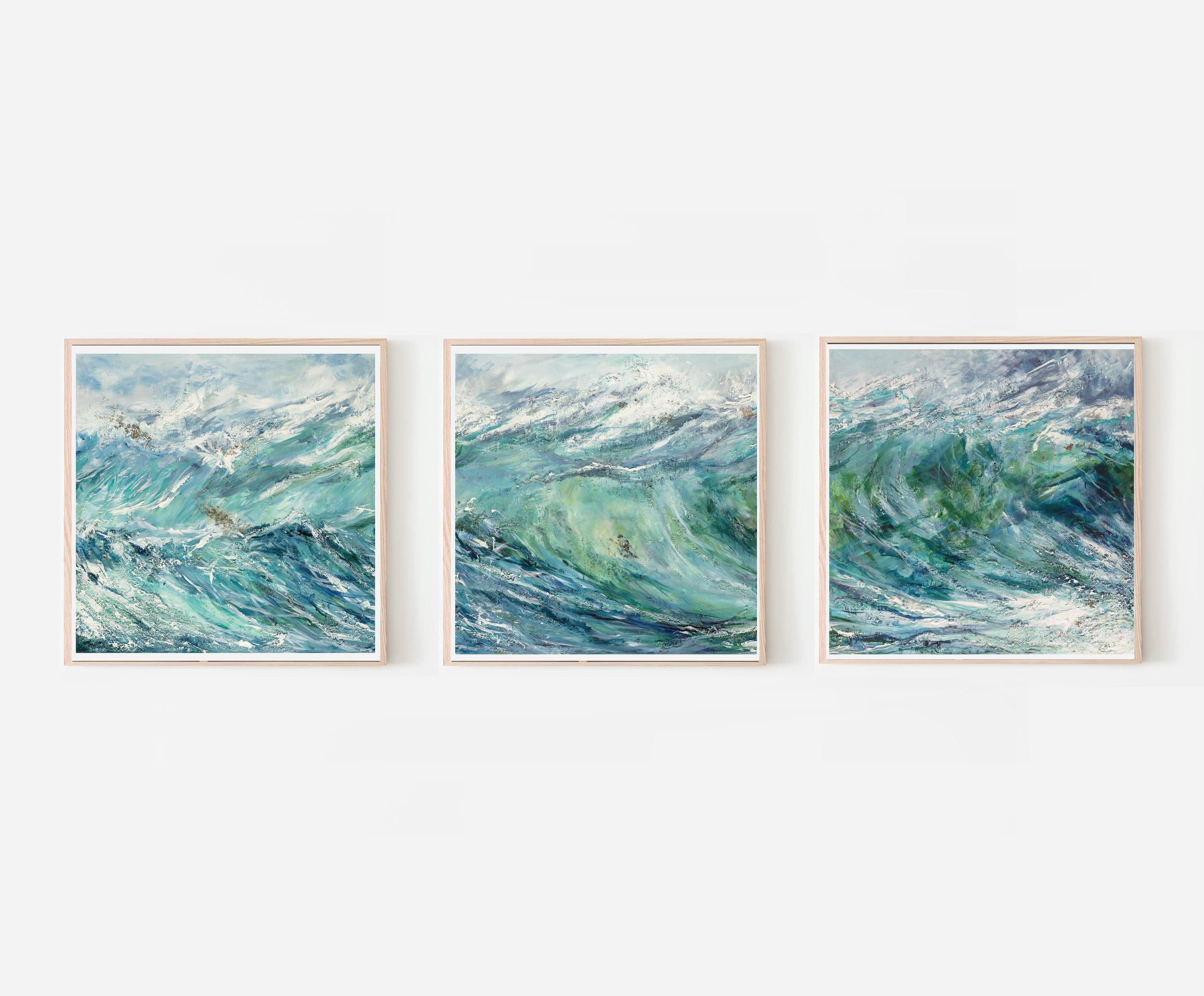 Set of 3 'Breaking Wave' Giclée Prints by Charlotte Farrow