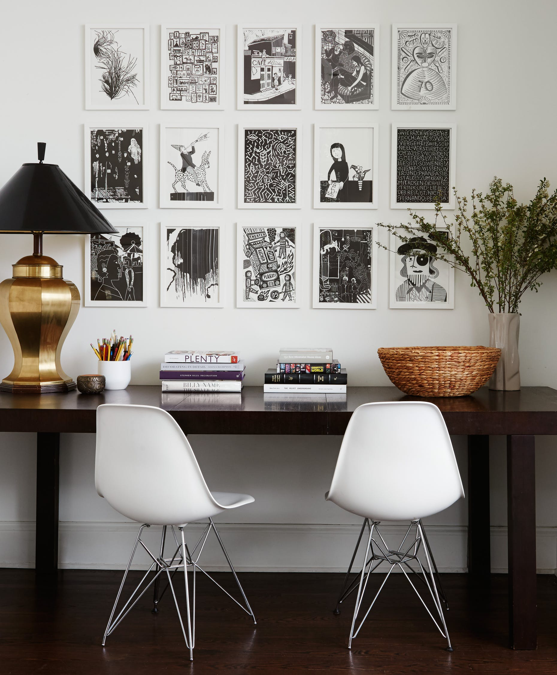 Black & white monochrome gallery wall by  2to5 Design