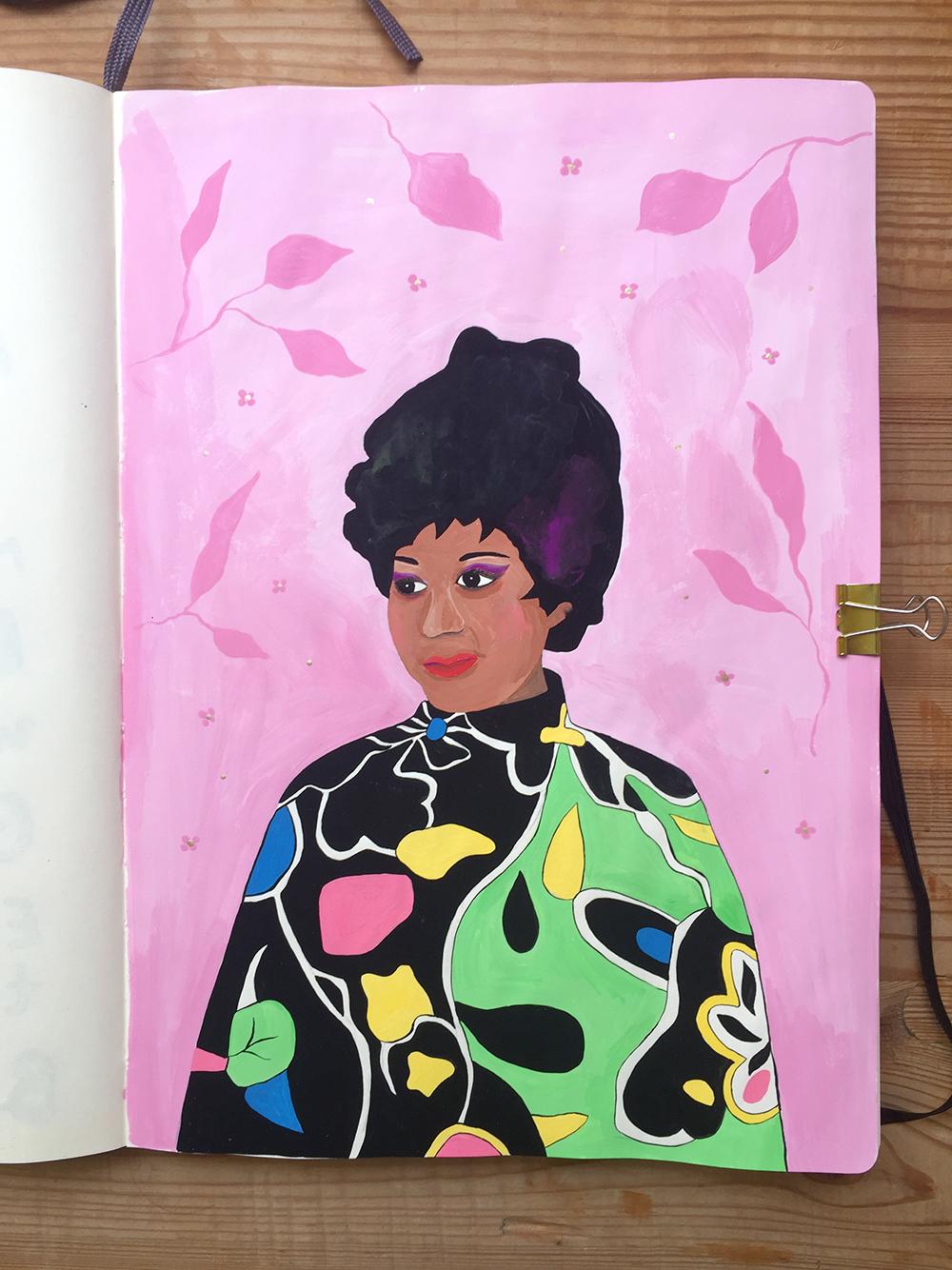 Aretha Franklin illustration by Marenthe