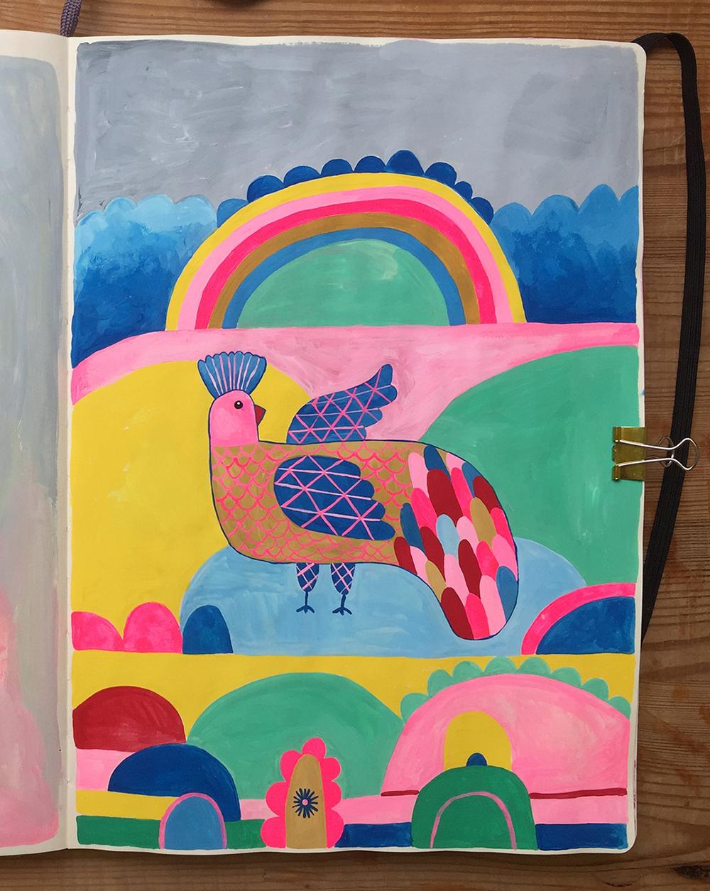 Dieren, vogel met regenboog, eigen project