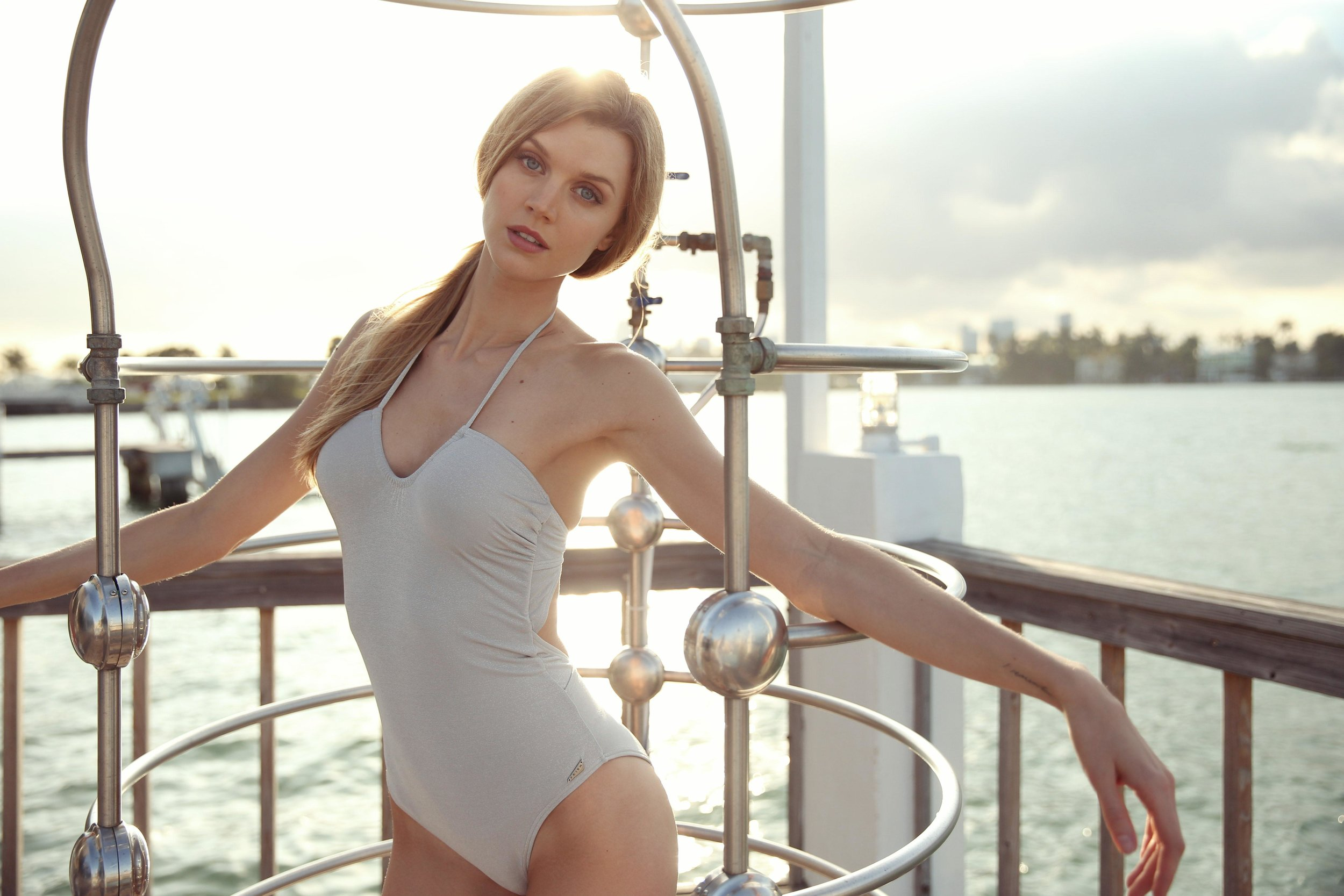 Jayne Moore Miami one piece blue swimsuit casual beach vibes at the standard hotel with douglas mott
