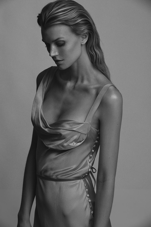 Jayne Moore black and white elegant Jean Paul Gaultier silk gown