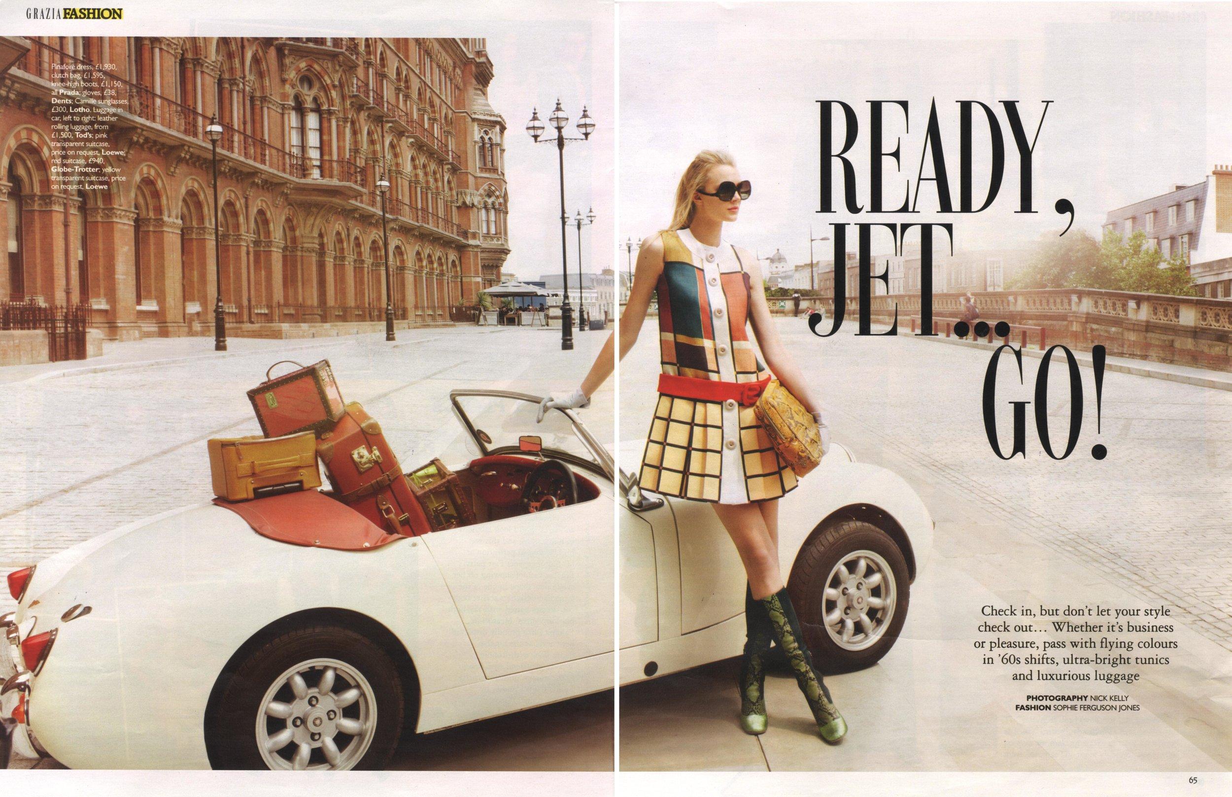 jayne moore for grazia kings cross st pancras renovation london sixties style vintage car old london meets new london