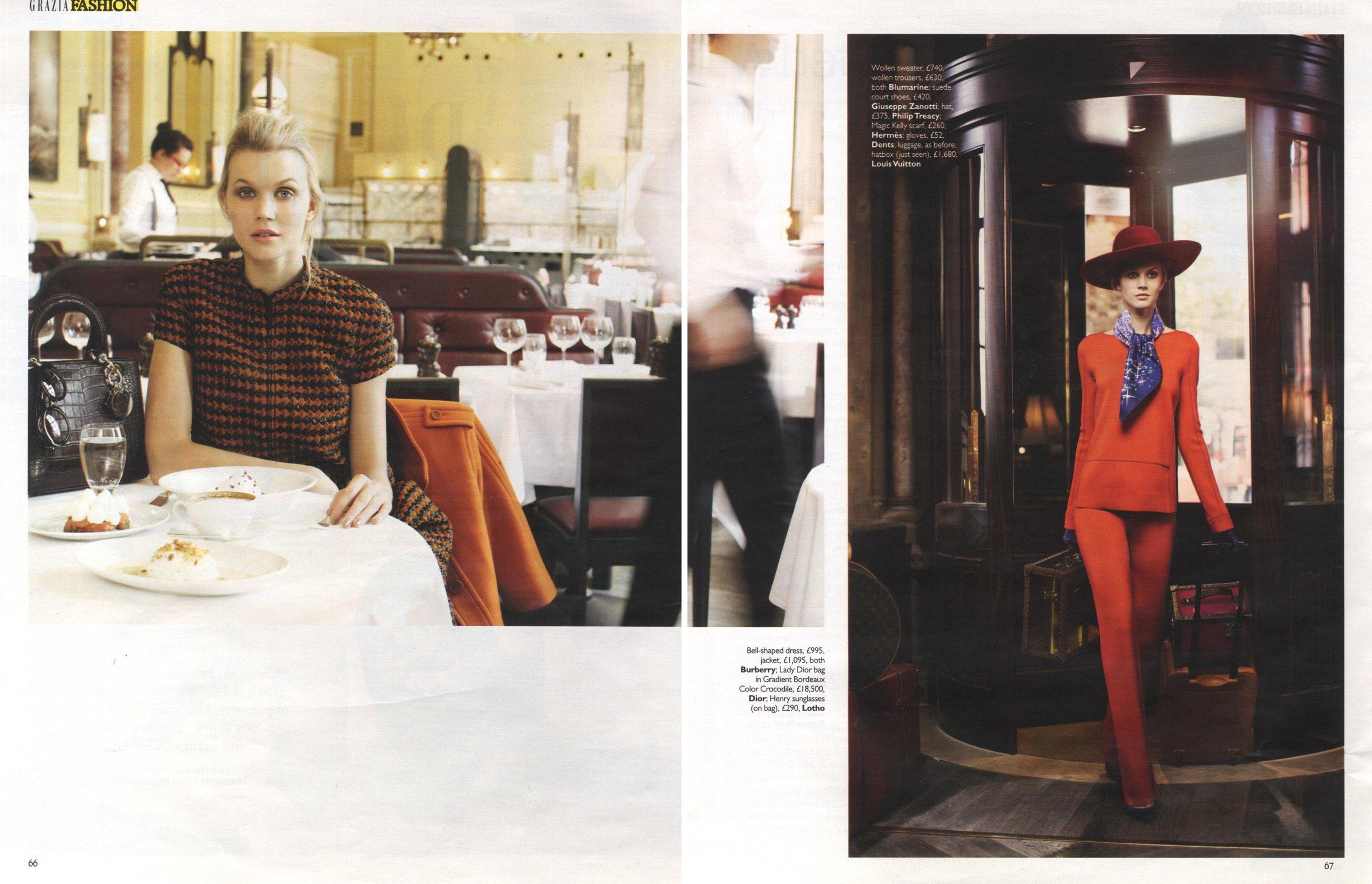 jayne moore for grazia kings cross st pancras renovation london  travel in style bold orange suit