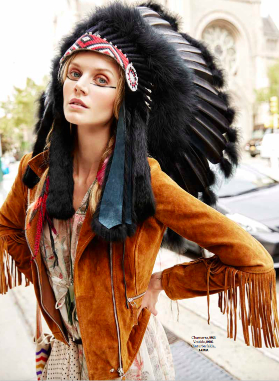 Jayne Moore Cosmopolitan Mexico vintage indian head piece bare make up with bold liner hippy indian boho chic