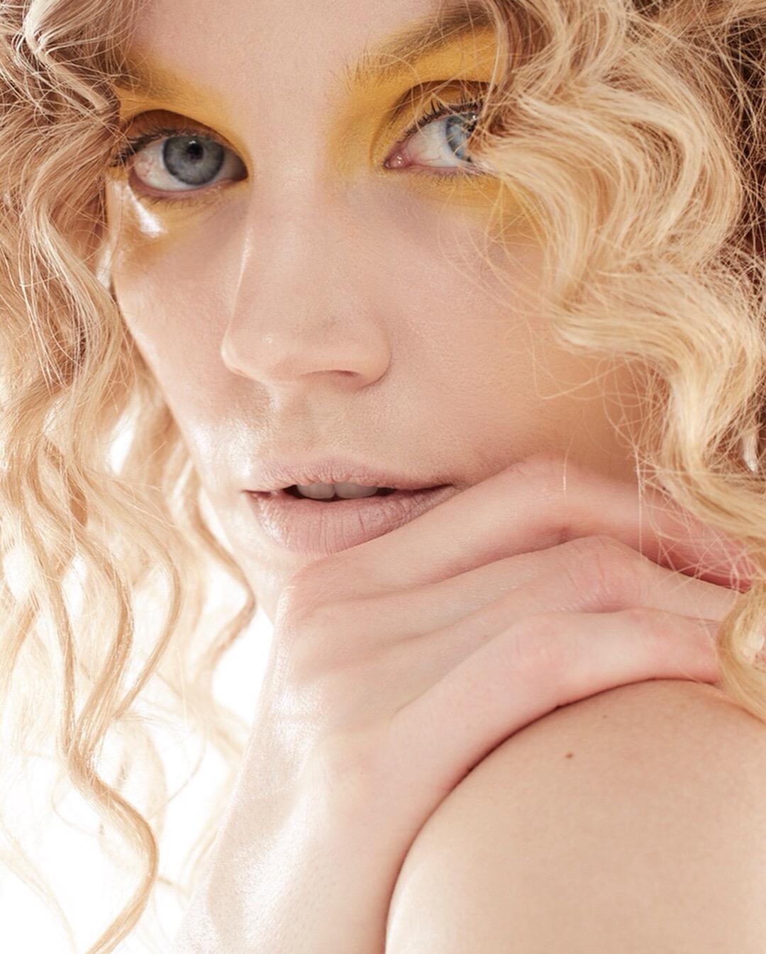 Jayne Moore beauty shoot bold brave powdery yellow eyeshadow  on blue eyes bold make up looks