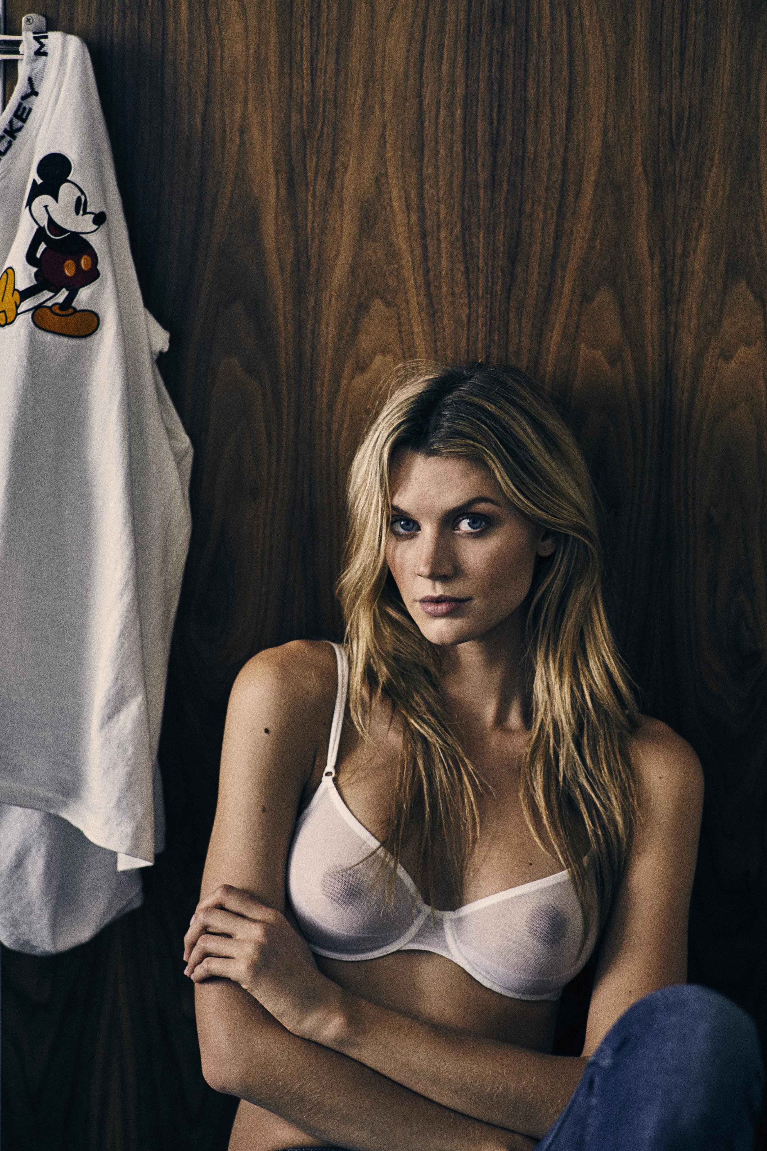Jayne Moore and WIll Vendramini hotel room series mickey mouse retro T shirt white lingerie
